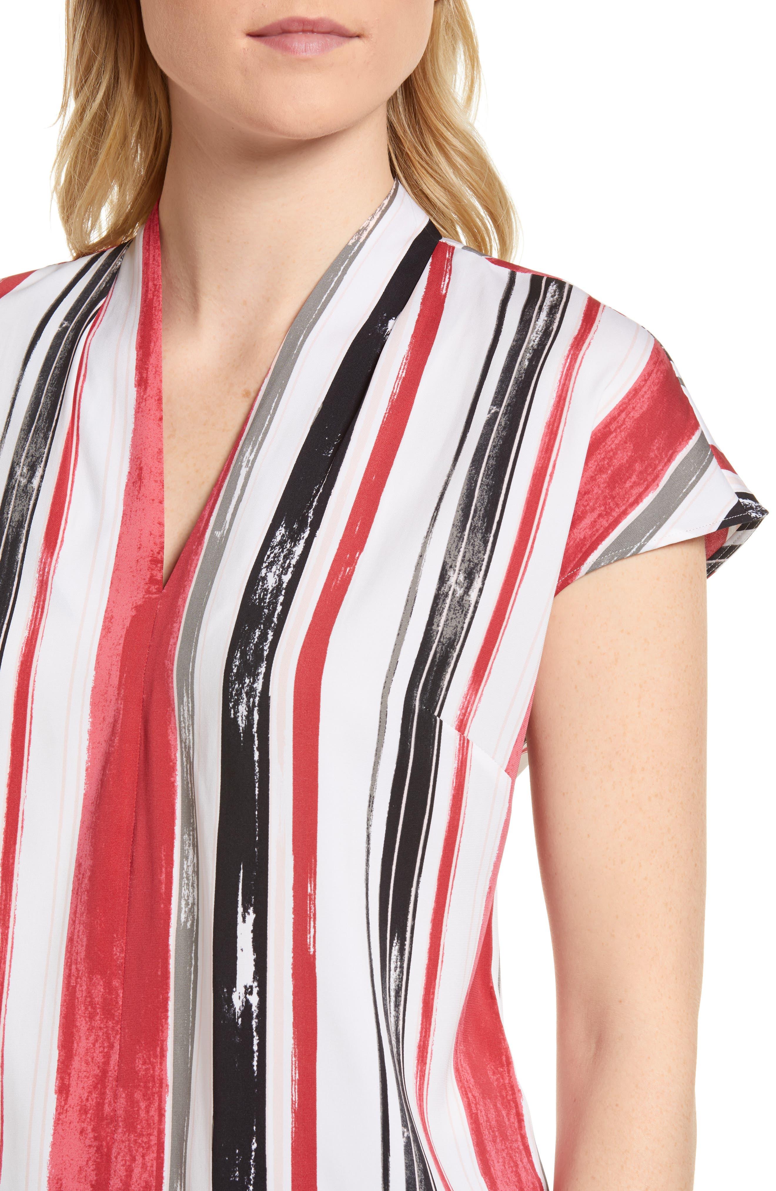 Short Sleeve Stripe Stretch Silk Blouse,                             Alternate thumbnail 4, color,                             900
