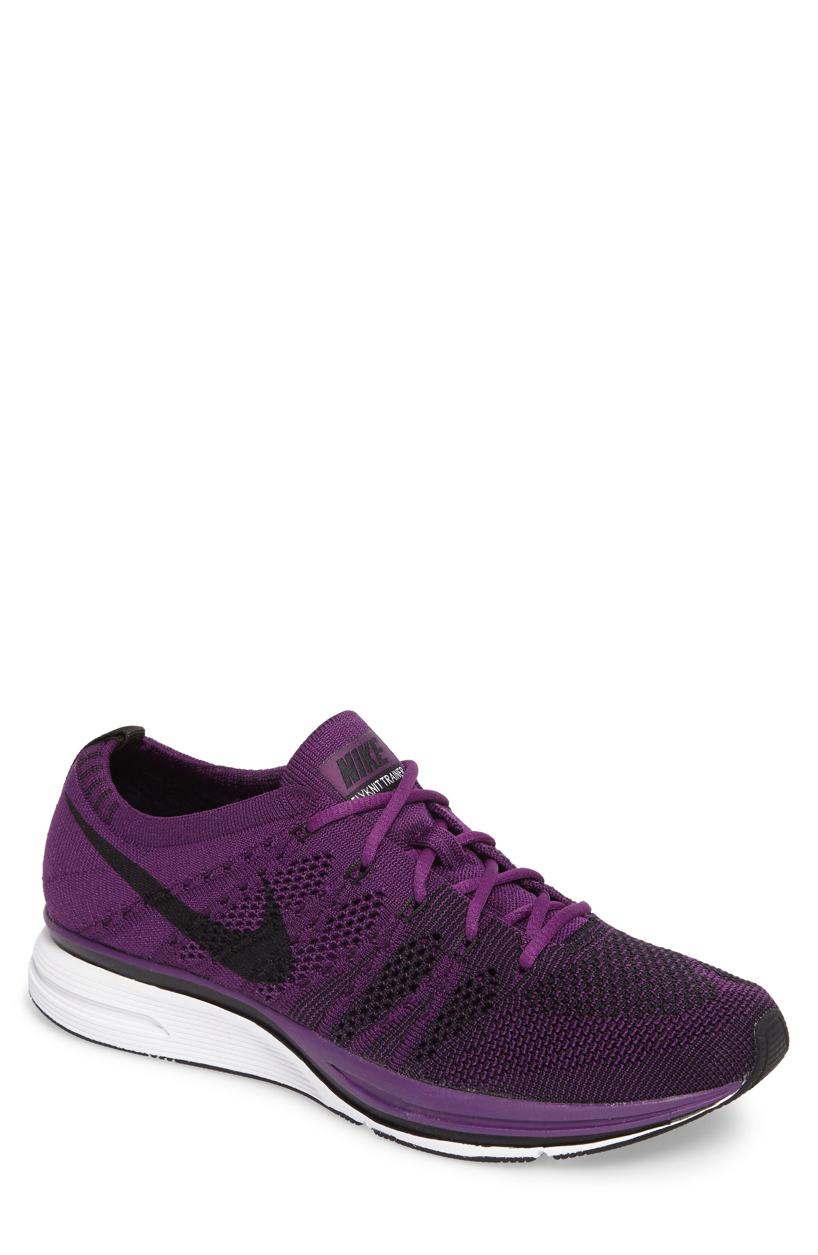 NikeLab Flyknit Trainer Sneaker,                         Main,                         color, NIGHT PURPLE/ BLACK/ WHITE