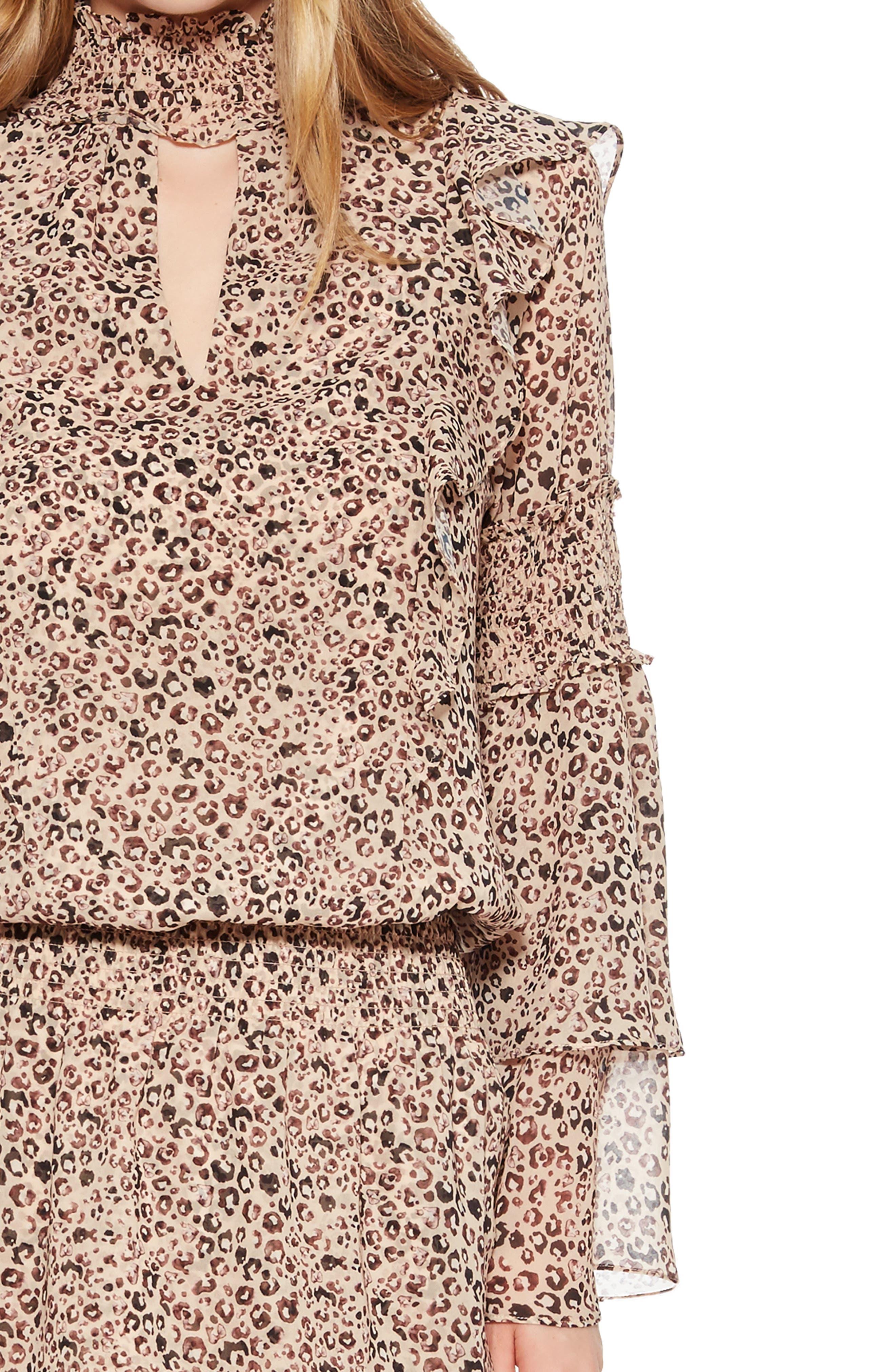 Elliana Smocked Minidress,                             Alternate thumbnail 4, color,                             MINI CAMEL JUNGLE
