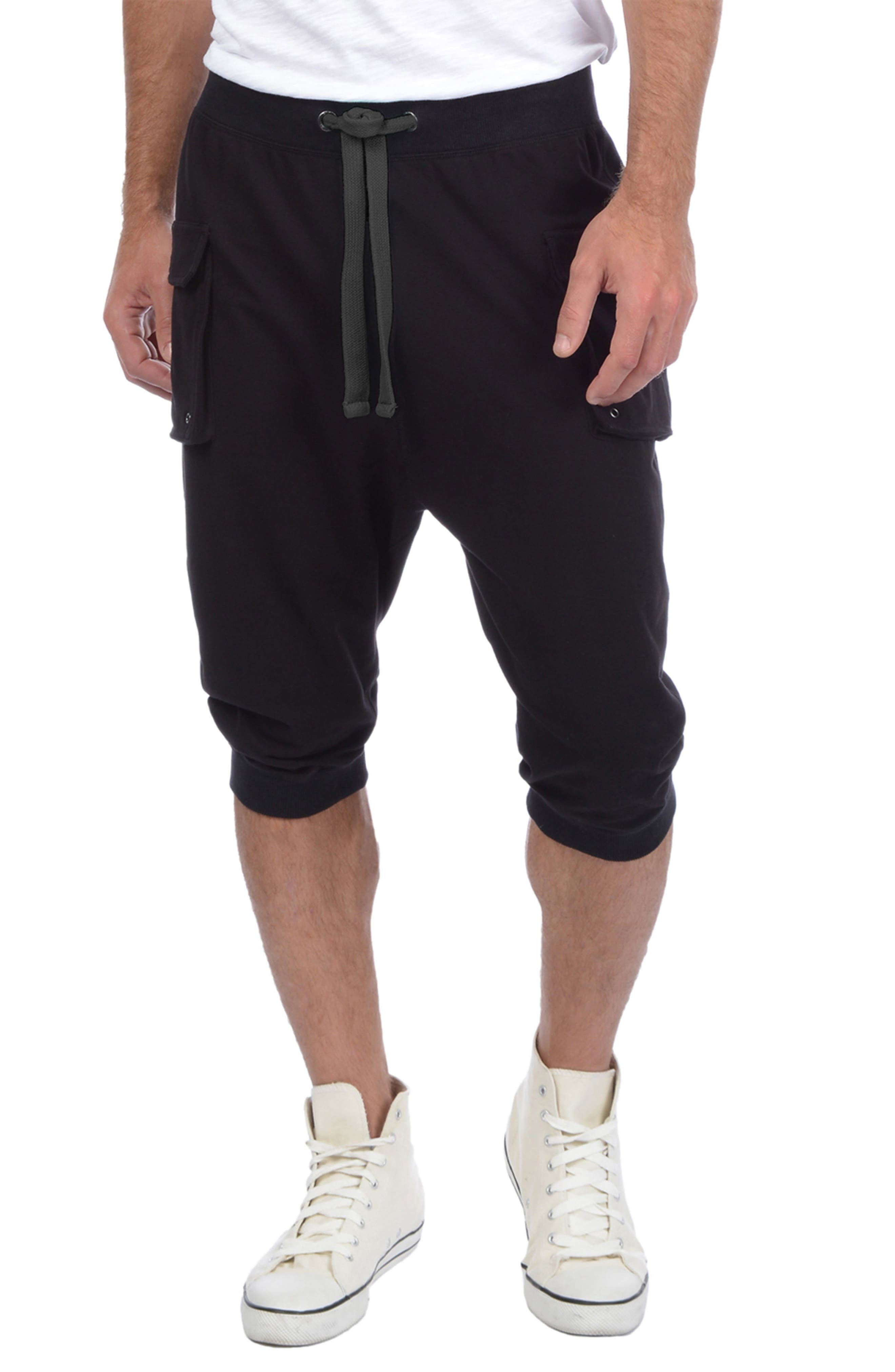 Crop Cargo Pants,                             Main thumbnail 1, color,                             BLACK