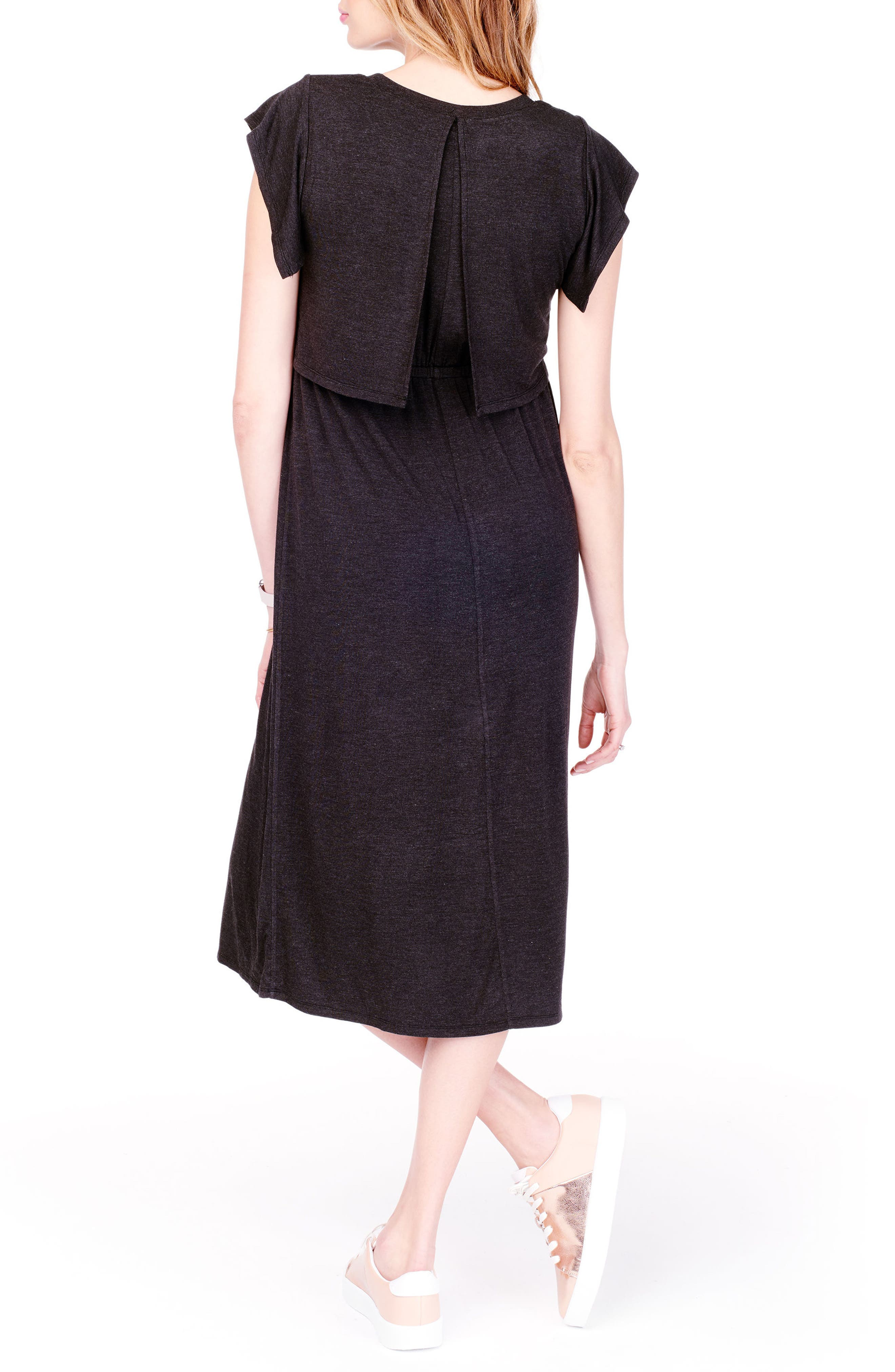 Maternity/Nursing Midi Dress,                             Alternate thumbnail 2, color,                             CHARCOAL HEATHER