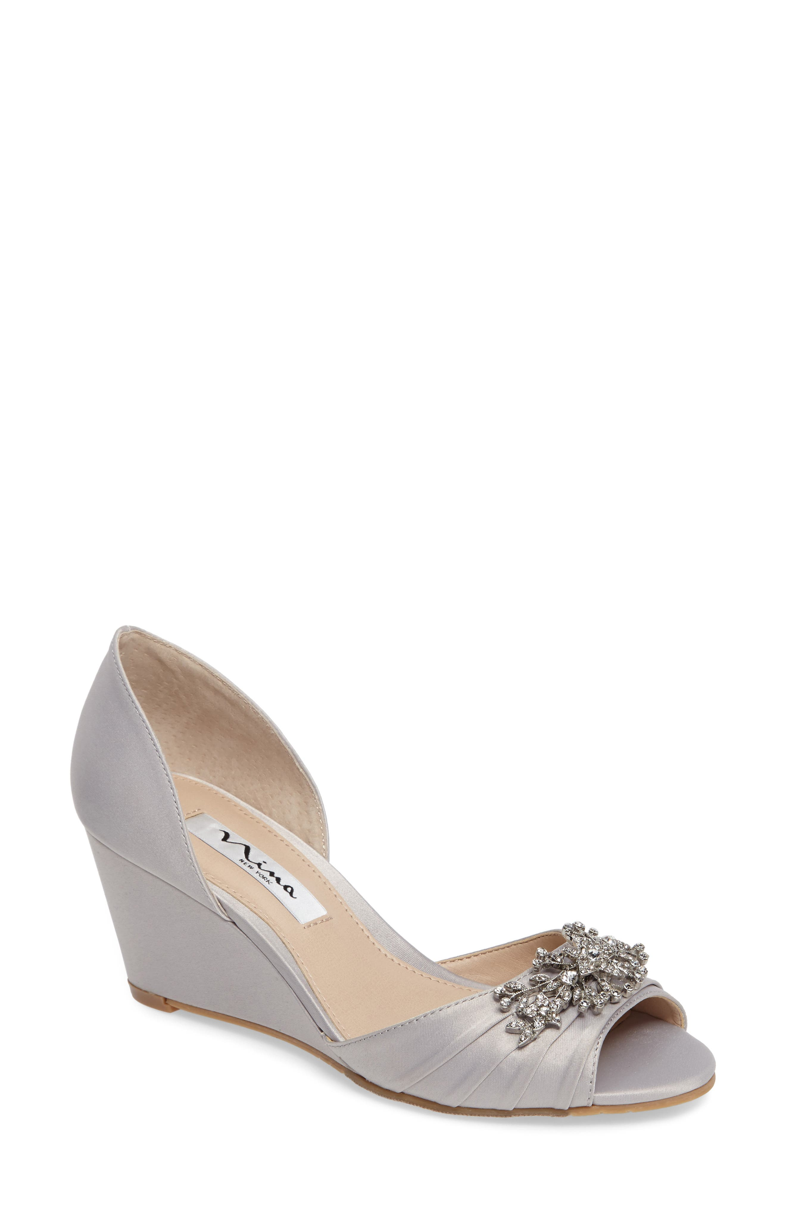 Emiko d'Orsay Wedge Pump,                             Main thumbnail 1, color,                             SILVER SATIN
