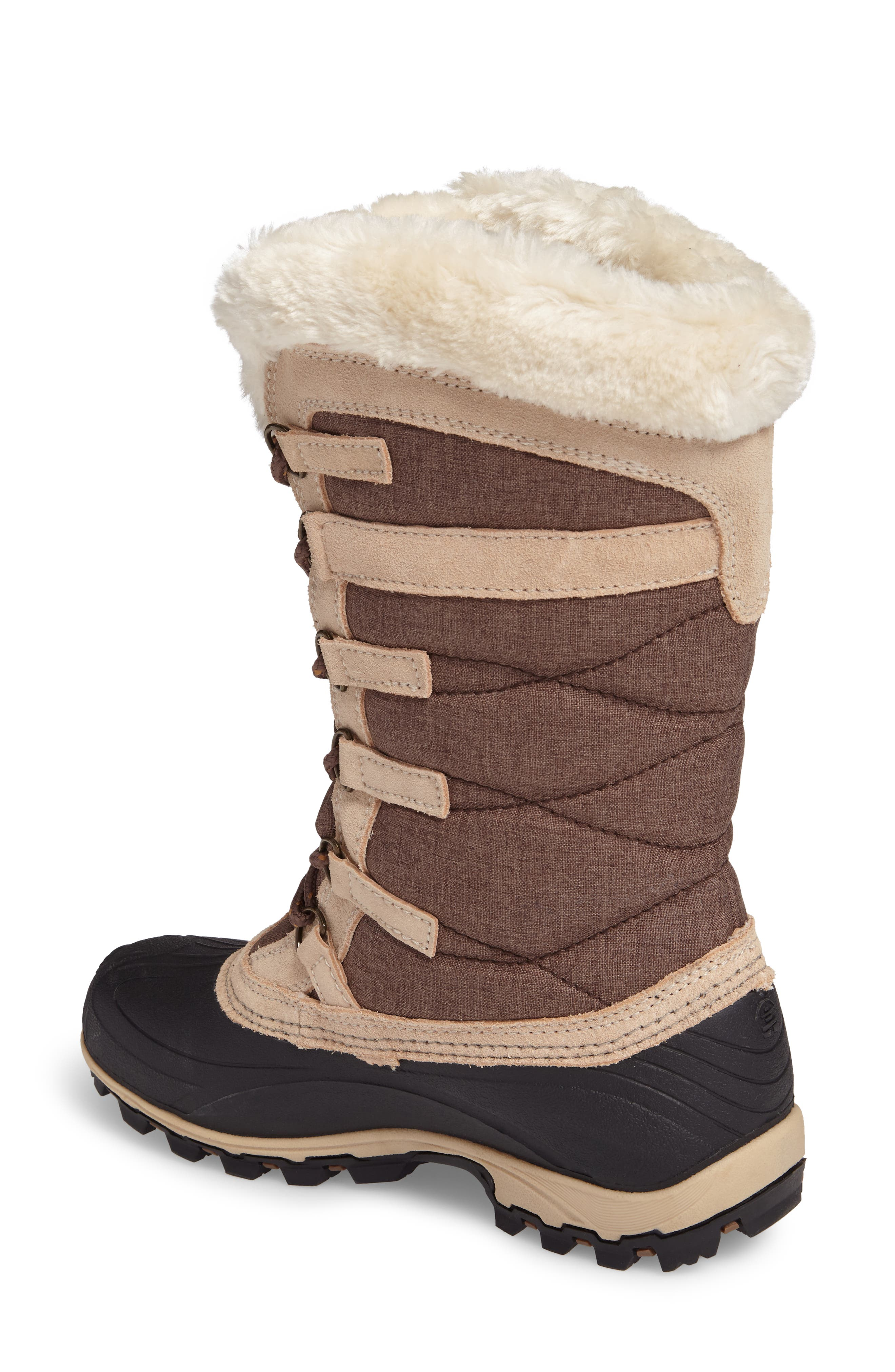 Snowvalley Waterproof Boot with Faux Fur Cuff,                             Alternate thumbnail 2, color,                             BROWN FABRIC