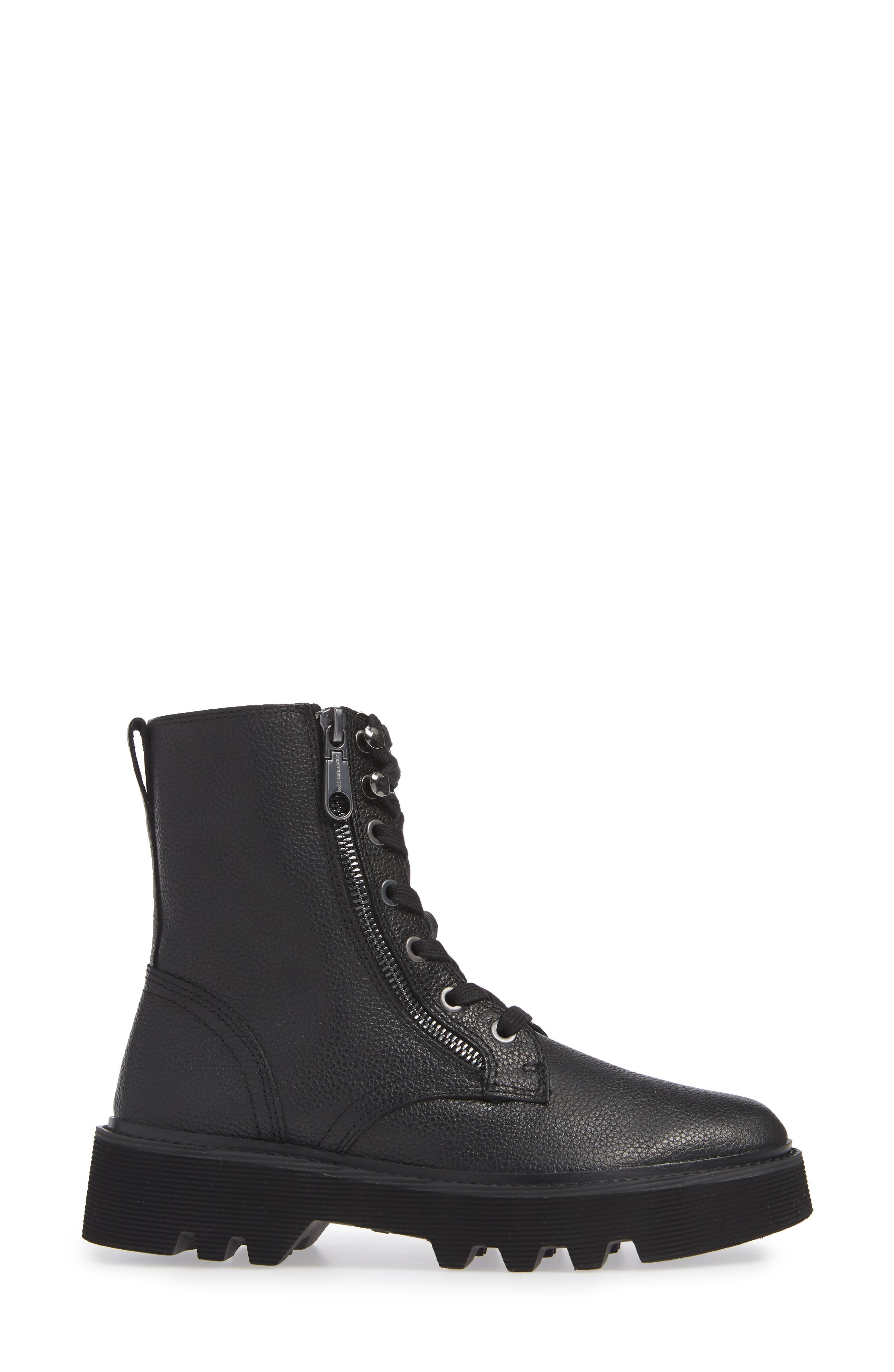 Diahne Combat Boot,                             Alternate thumbnail 3, color,                             BLACK LEATHER