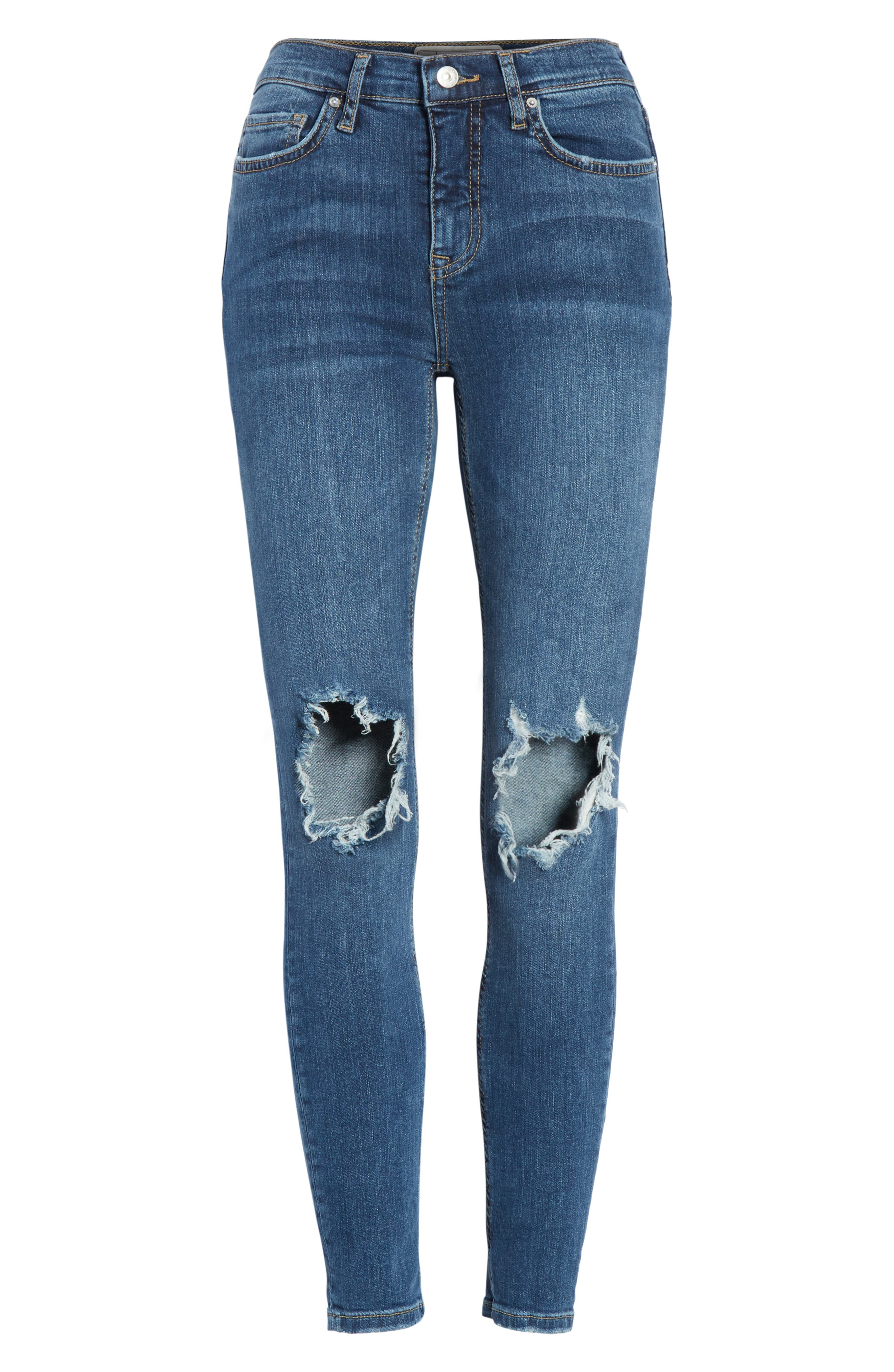 We the Free by Free People Ripped High Waist Ankle Skinny Jeans,                             Alternate thumbnail 6, color,                             400