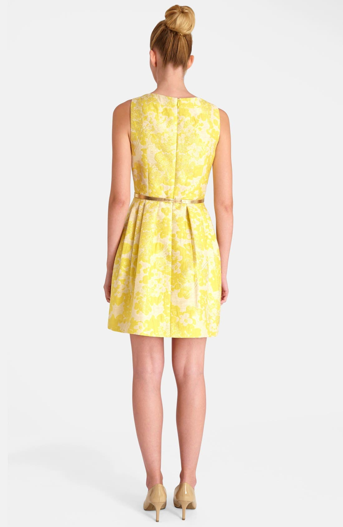 Floral Brocade Fit & Flare Dress,                             Alternate thumbnail 3, color,                             752