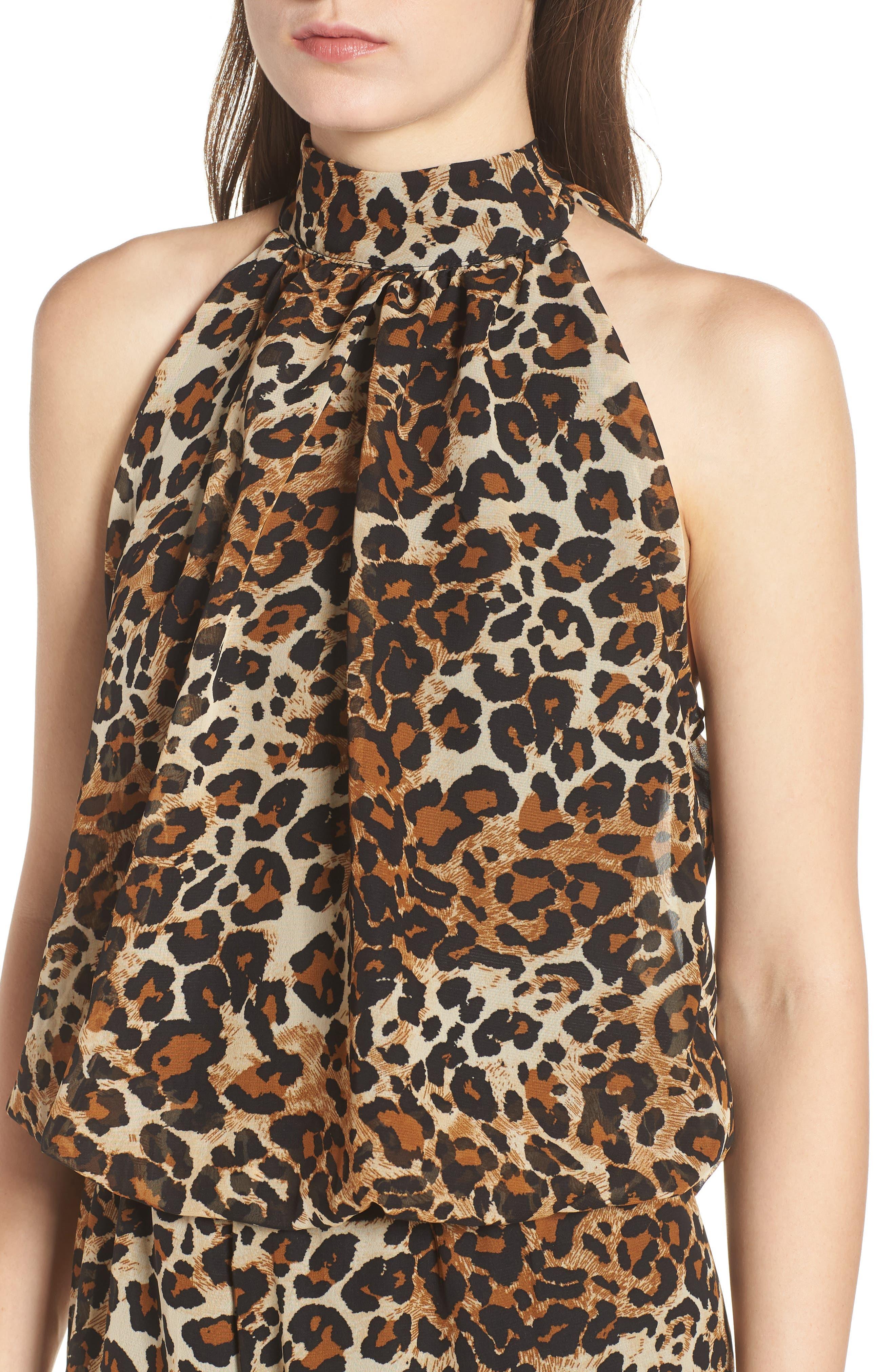 Leopard Print Halter Romper,                             Alternate thumbnail 4, color,                             EXPLODED CHEETAH