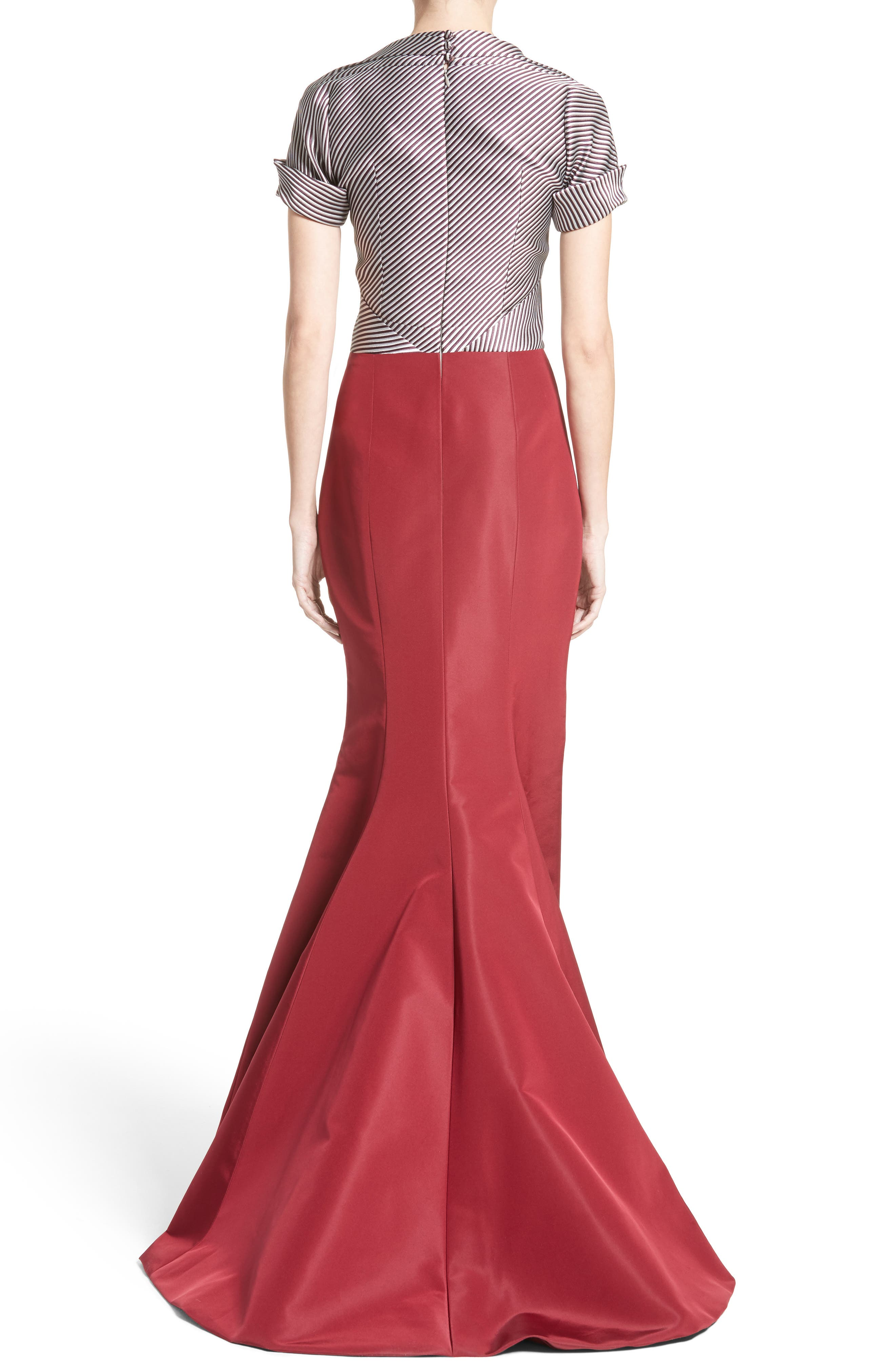 Bow Front Colorblock Gown,                             Alternate thumbnail 2, color,                             600
