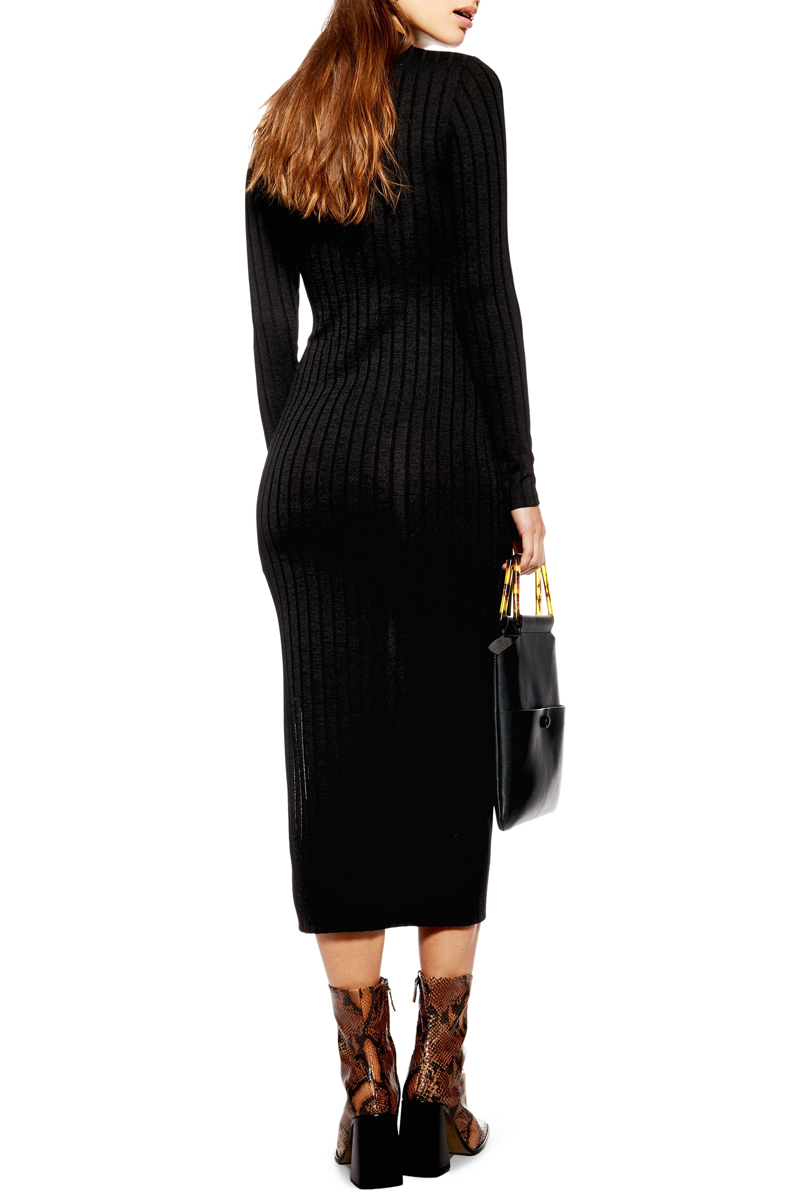 High Neck Ribbed Midi Dress,                             Alternate thumbnail 2, color,                             BLACK