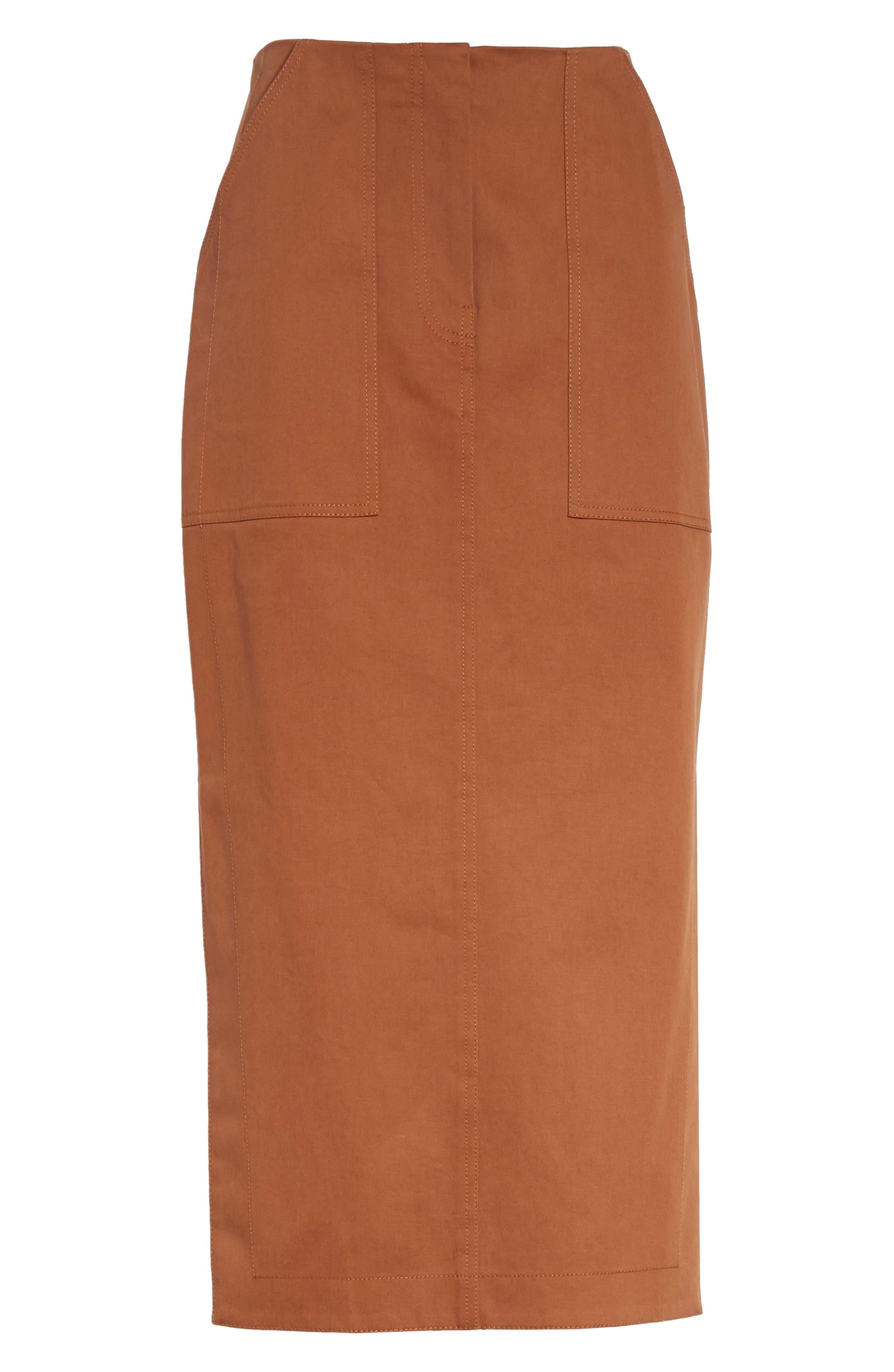 Diane von Furstenberg Midi Twill Pencil Skirt,                             Alternate thumbnail 6, color,                             203