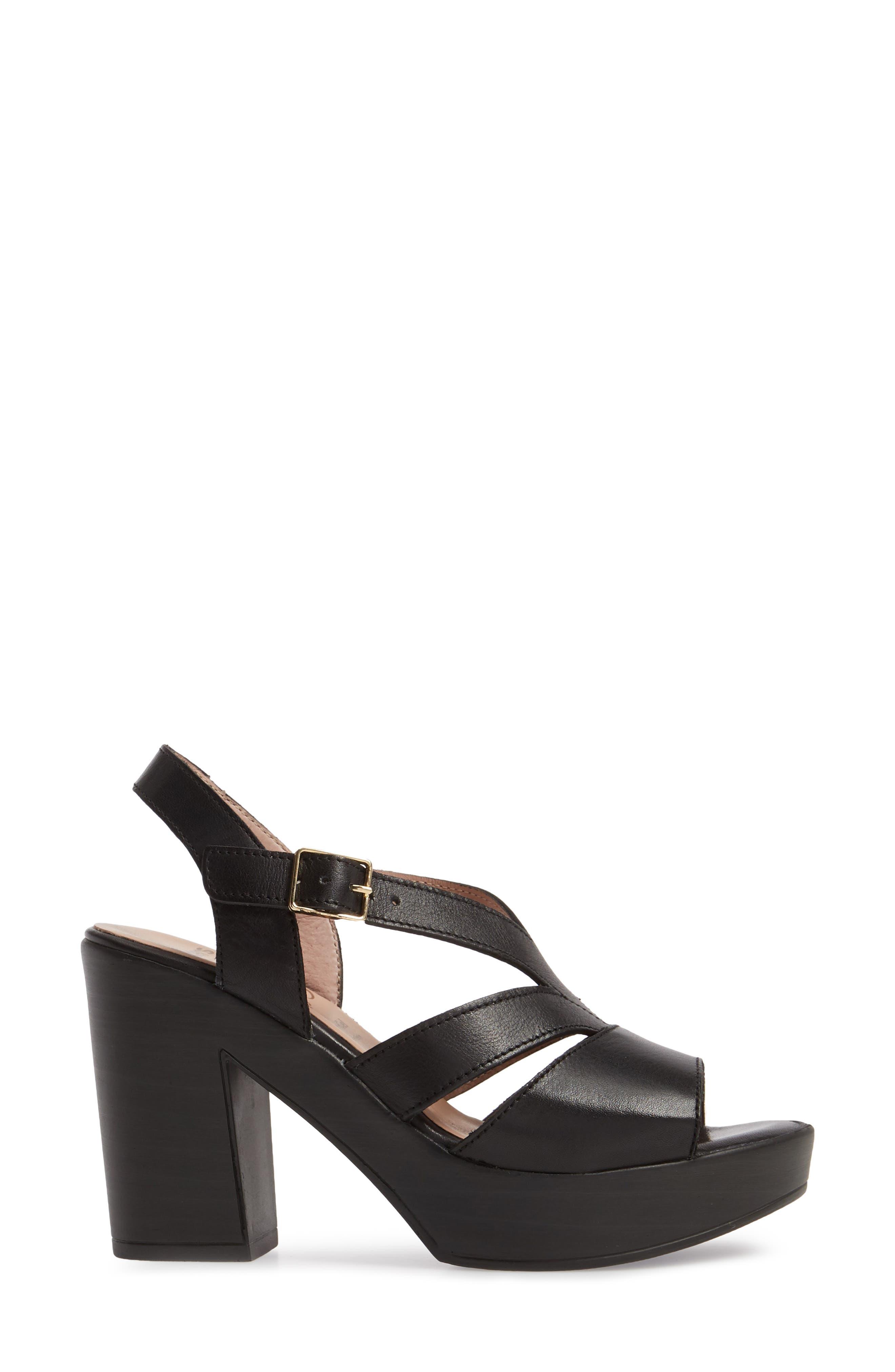 V-Strap Platform Sandal,                             Alternate thumbnail 3, color,                             BLACK LEATHER