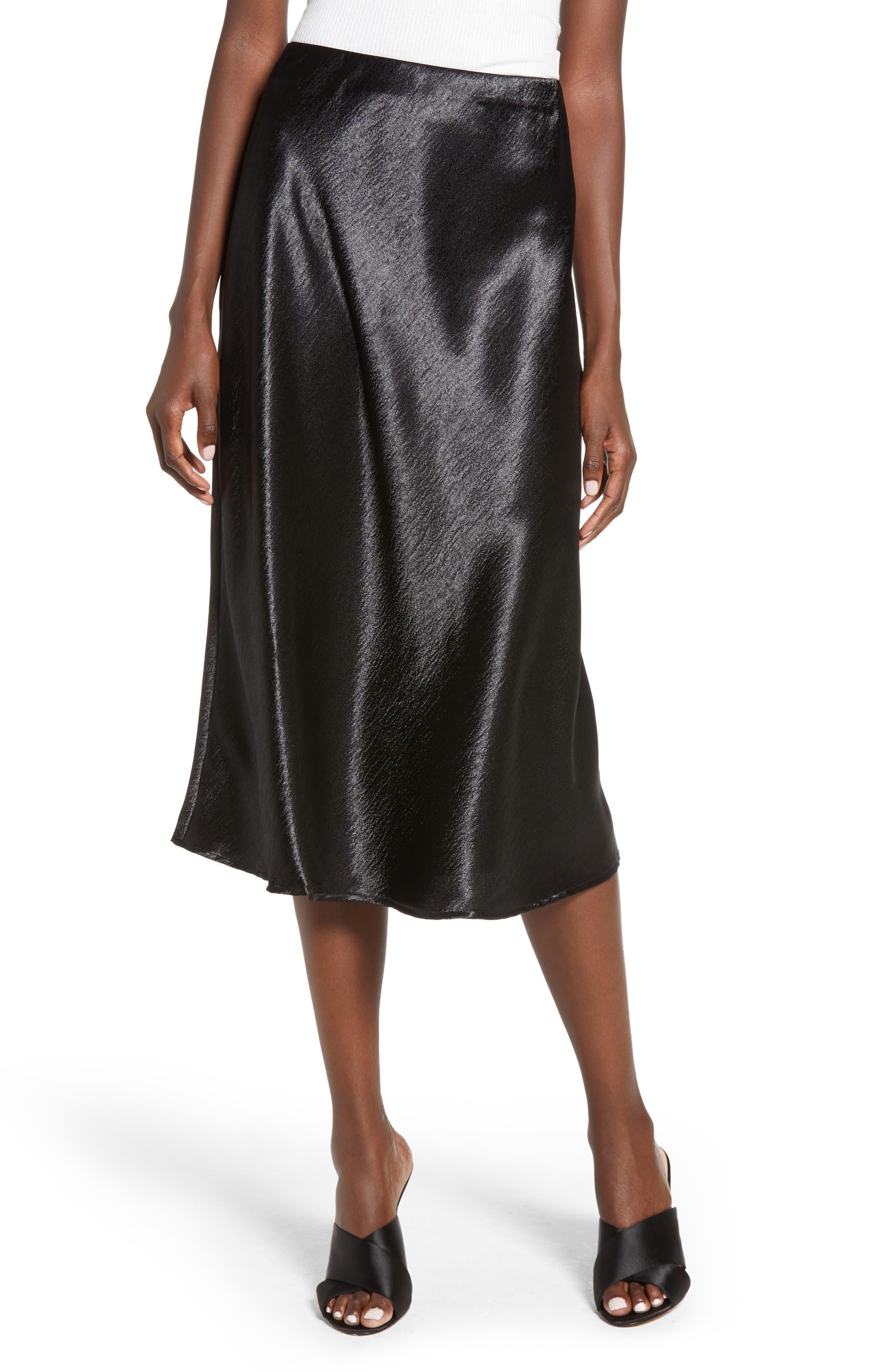 Love, Fire Satin Midi Skirt, Black