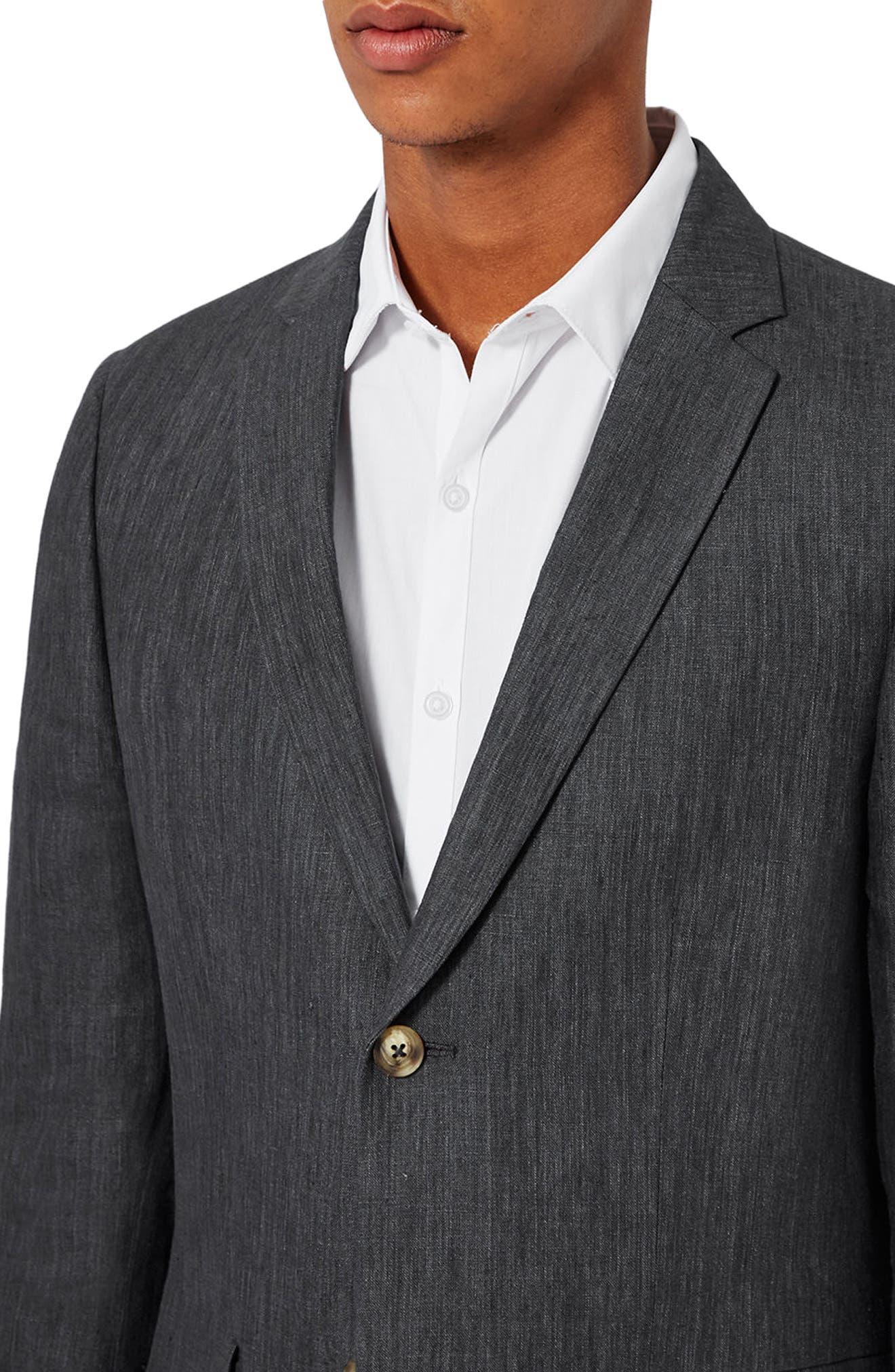 Skinny Fit Linen Suit Jacket,                             Alternate thumbnail 3, color,                             021