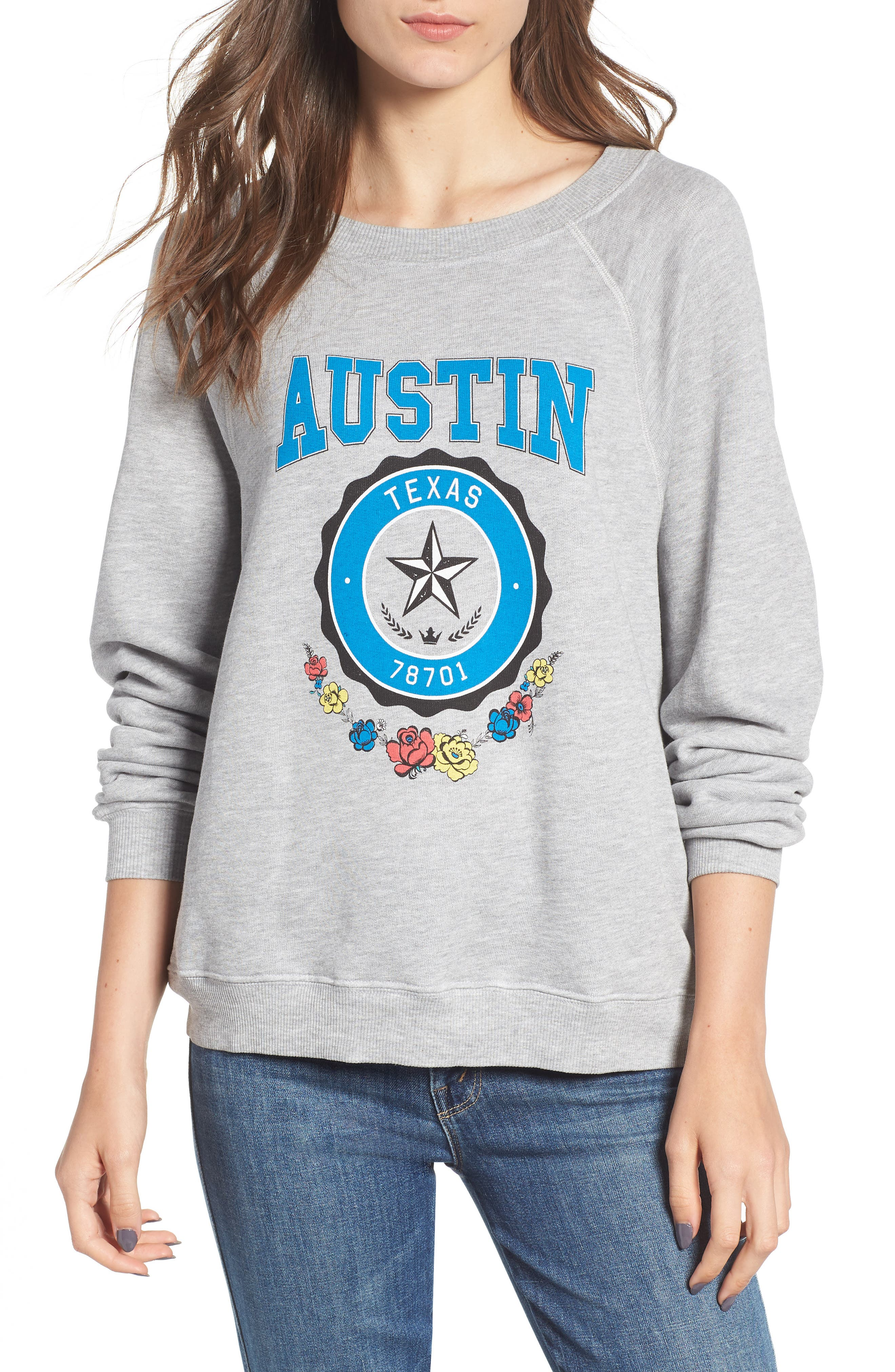 Austin Crest Sommers Sweatshirt,                             Main thumbnail 1, color,                             HEATHER