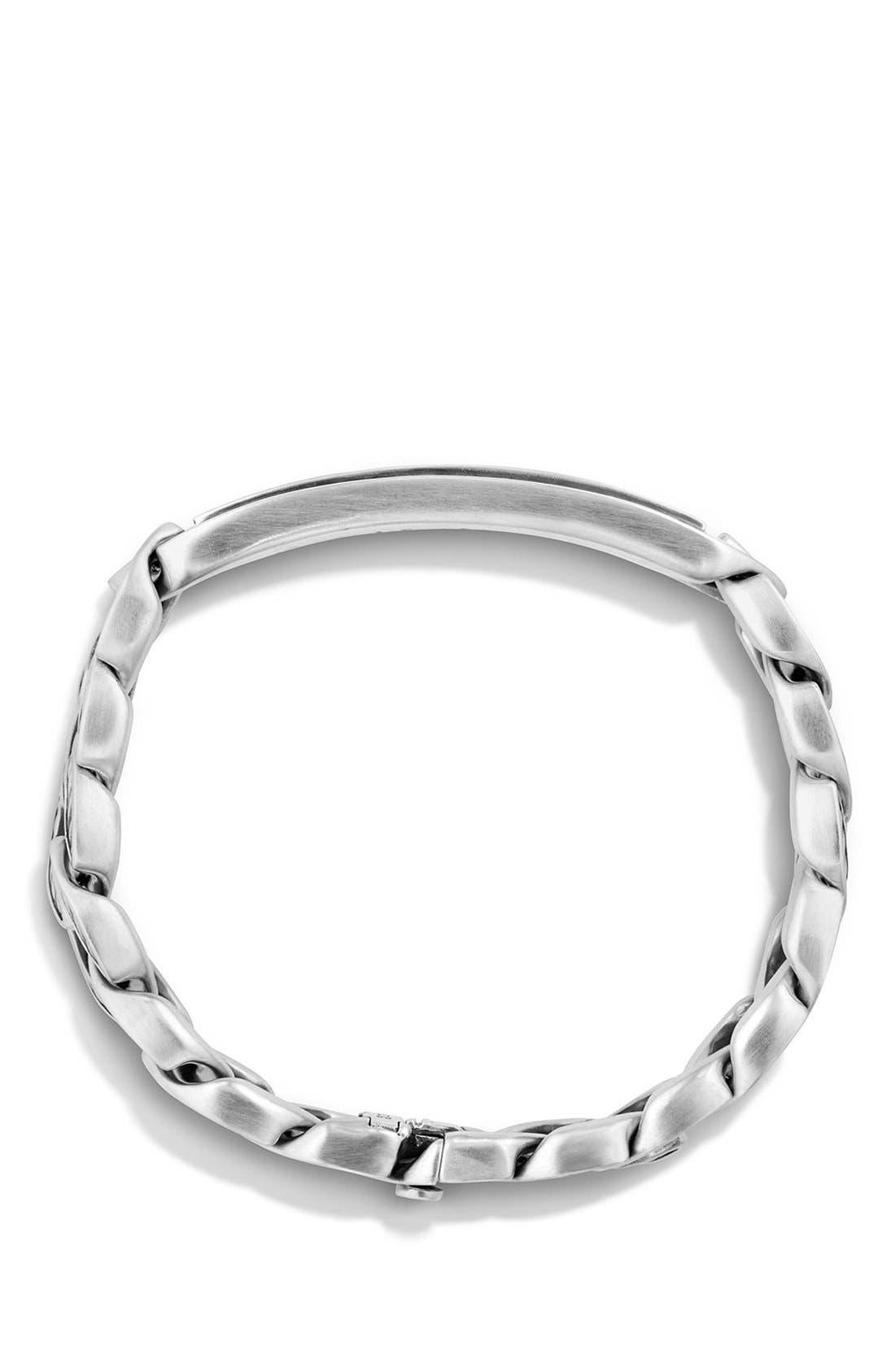 'Maritime' Curb Link ID Bracelet,                             Alternate thumbnail 3, color,                             SILVER/ BLACK ONYX