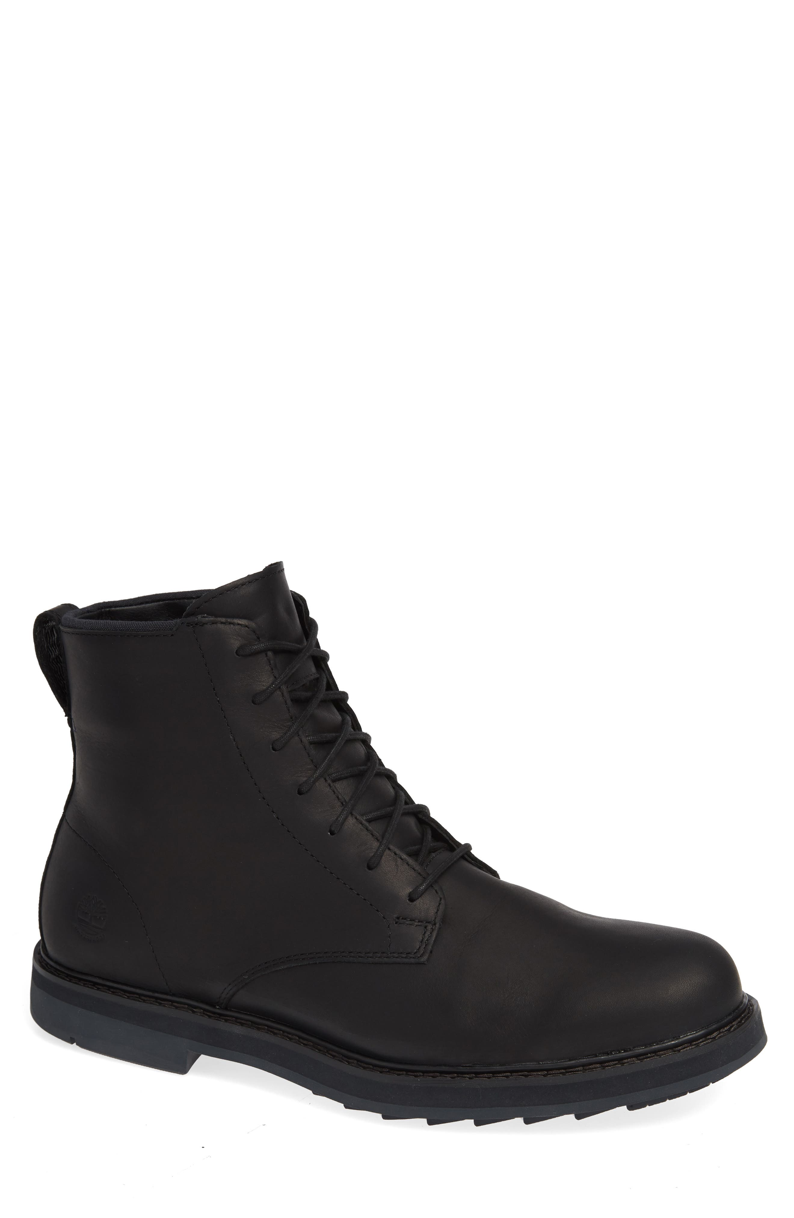 Squall Canyon Waterproof Plain Toe Boot,                         Main,                         color, BLACK LEATHER