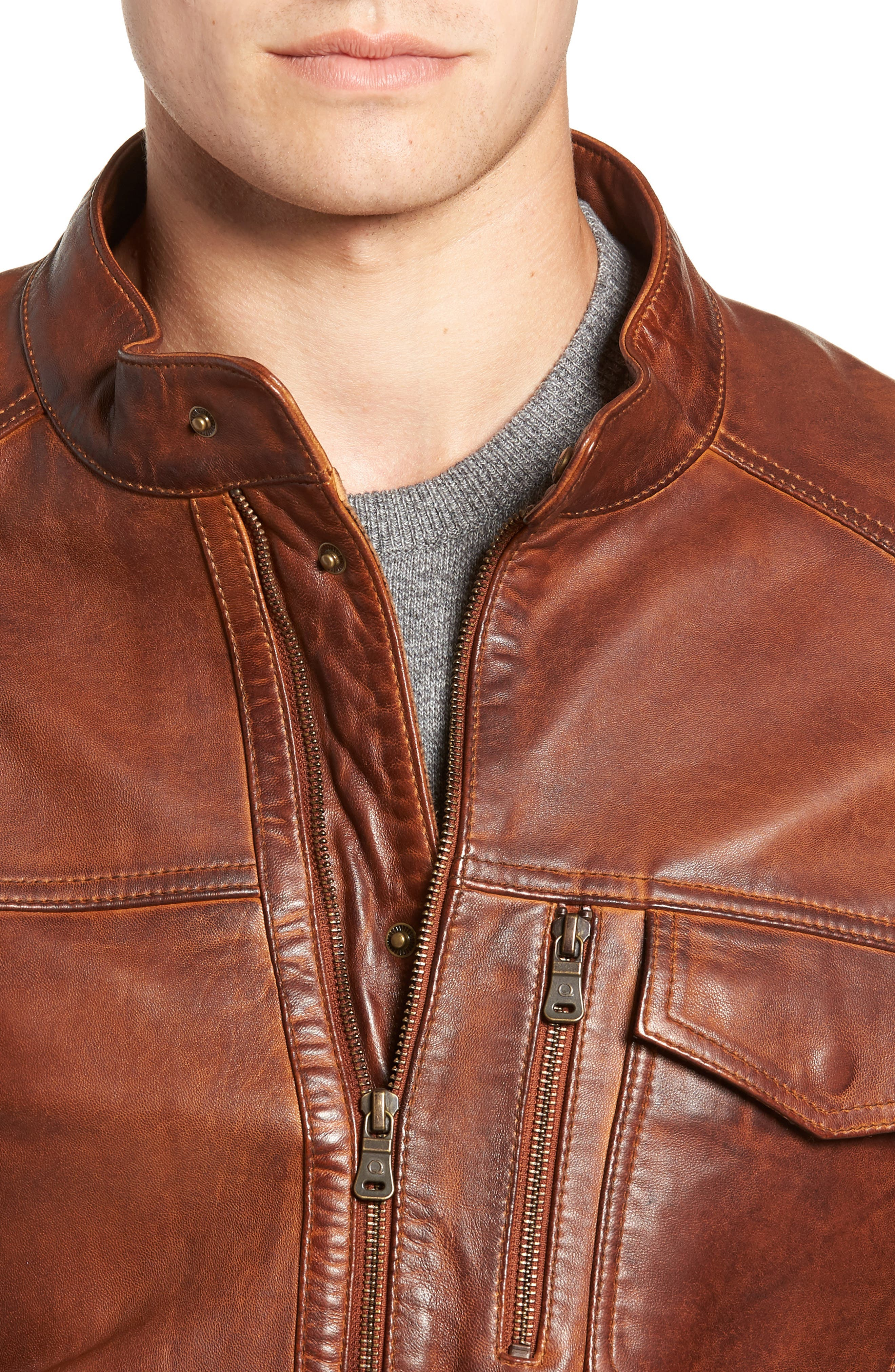 Leather Jacket,                             Alternate thumbnail 4, color,                             BROWN