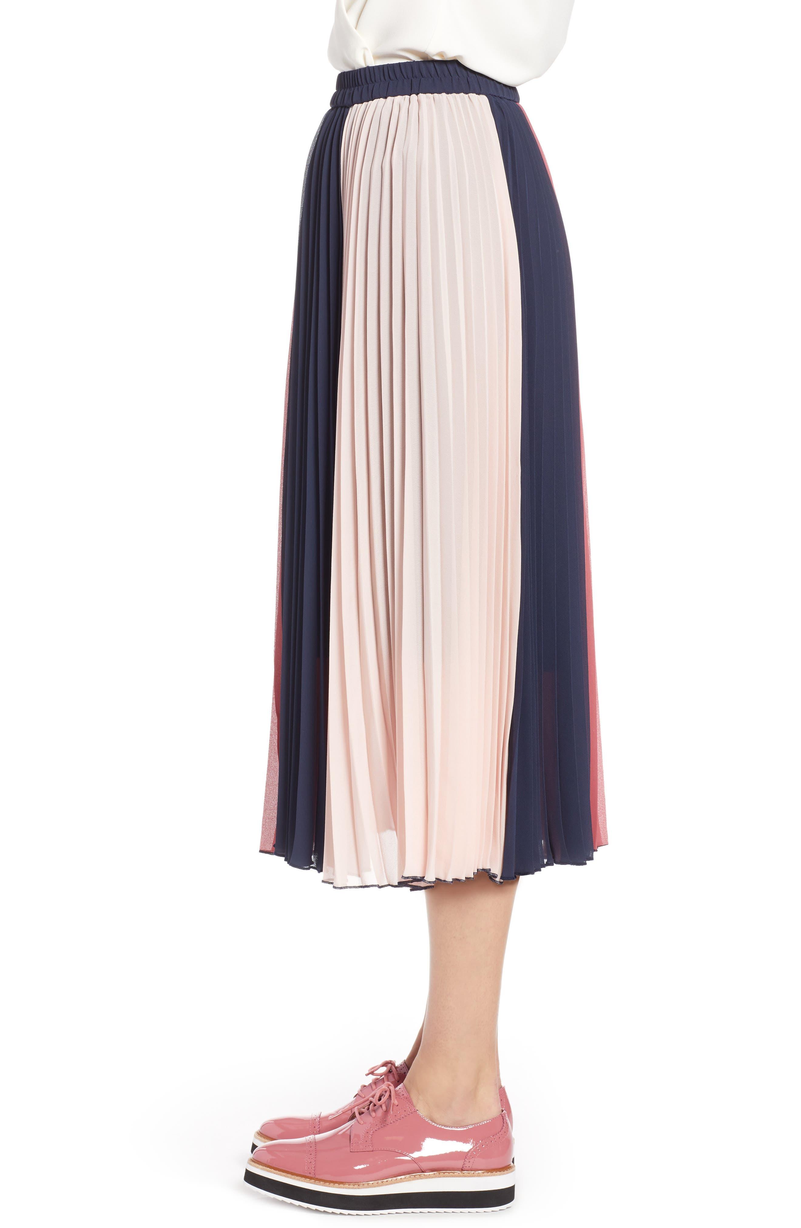 x Atlantic-Pacific Colorblock Pleated Midi Skirt,                             Alternate thumbnail 4, color,                             PINK- NAVY COLORBLOCK