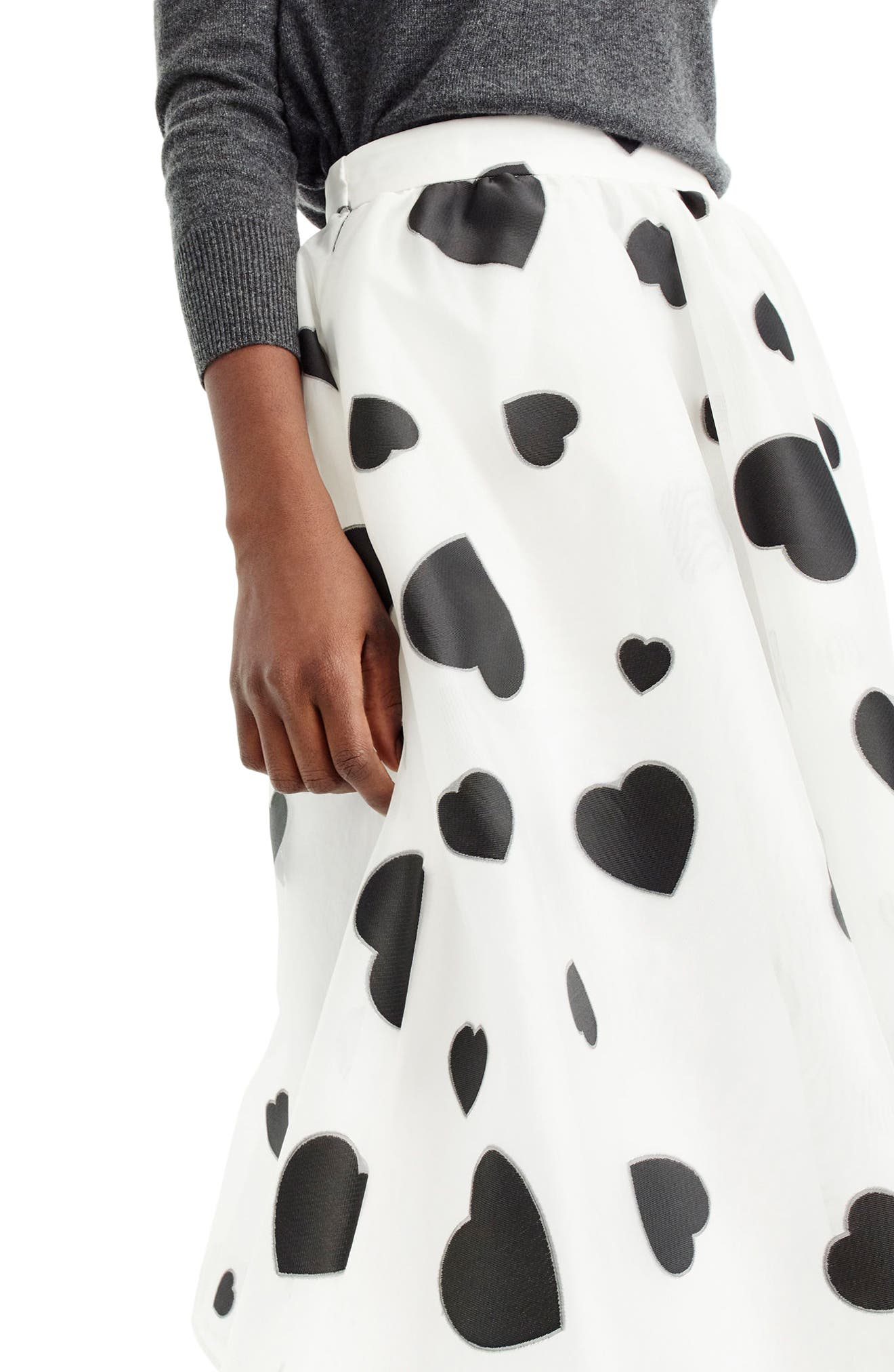 Heart Print Organza Skirt,                             Alternate thumbnail 2, color,                             010