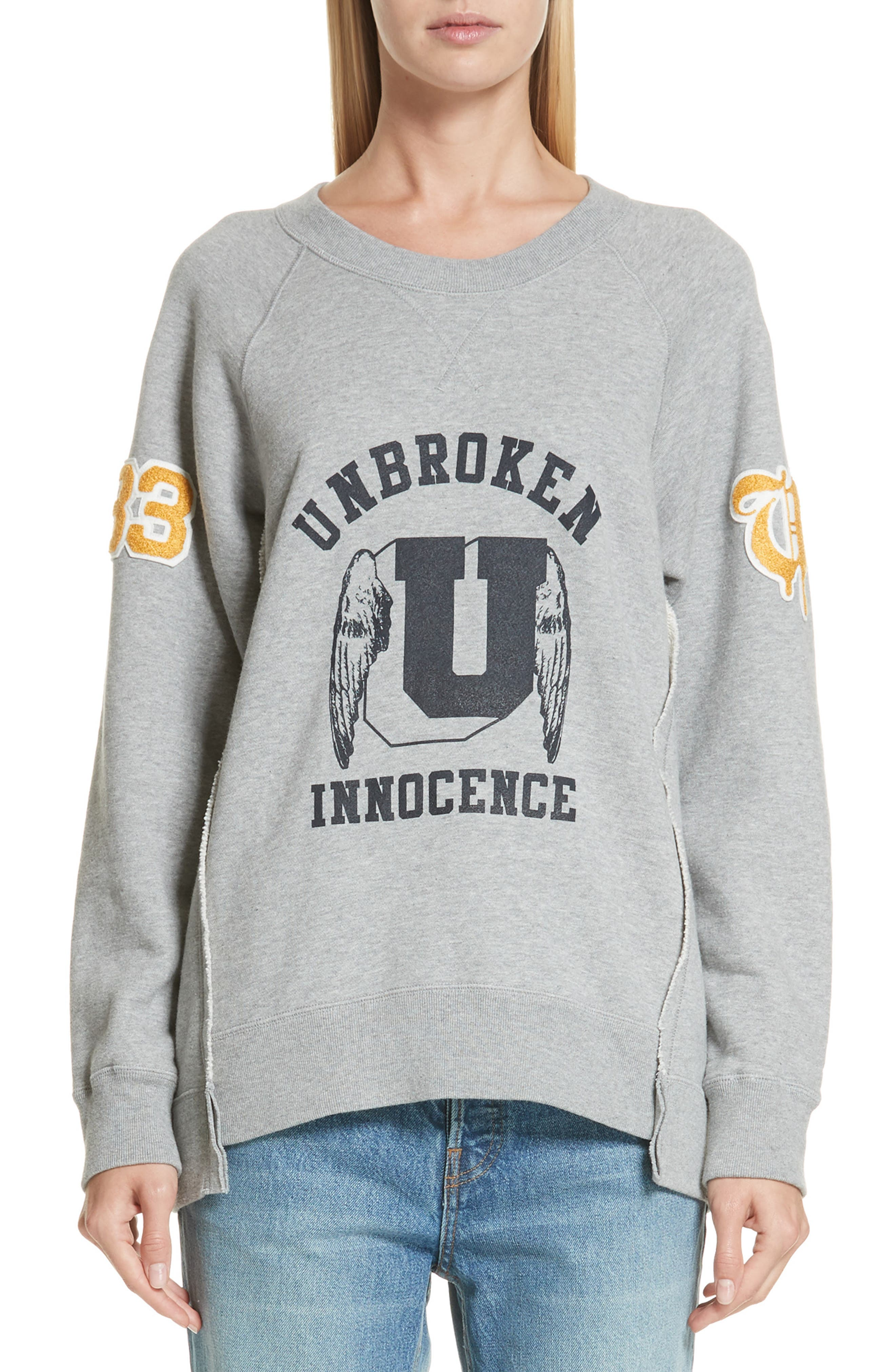 Unbroken Innocence Sweatshirt,                             Main thumbnail 1, color,                             B TOP GRAY