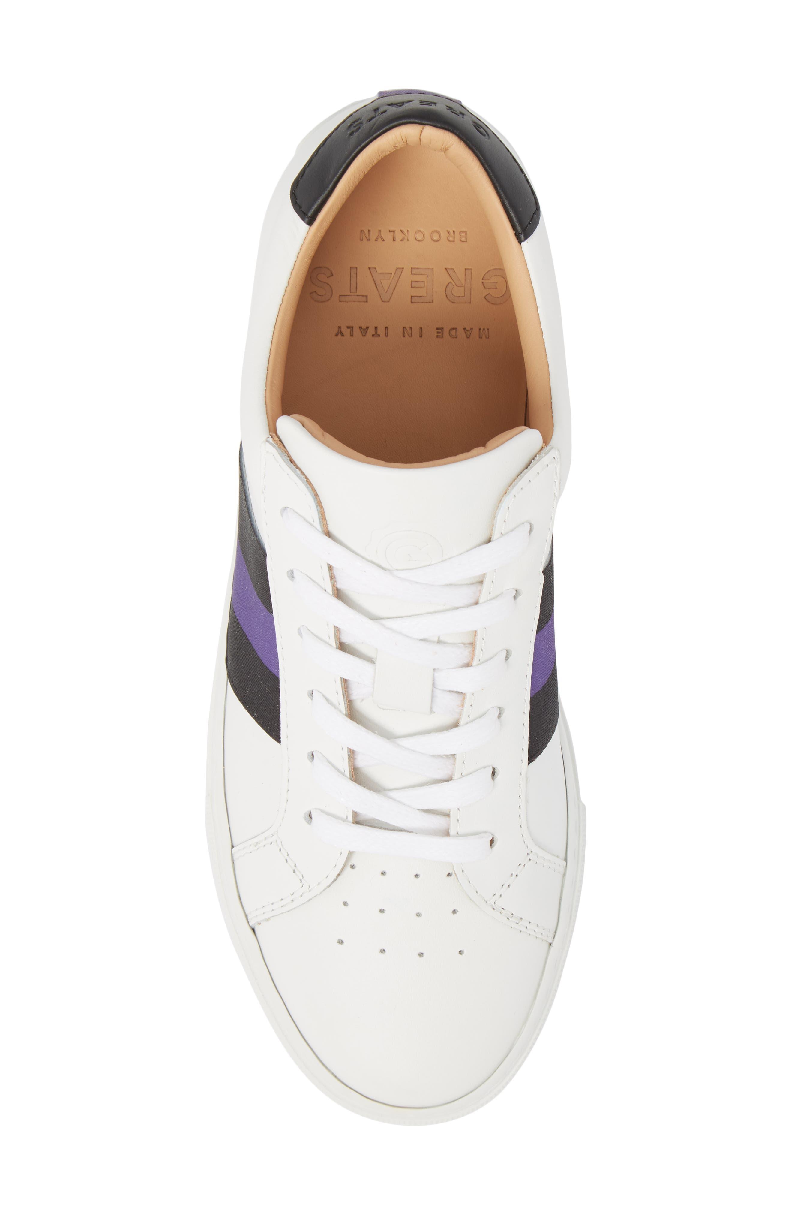 Royale Stripe Sneaker,                             Alternate thumbnail 5, color,                             WHITE/ BLACK/ VIOLET
