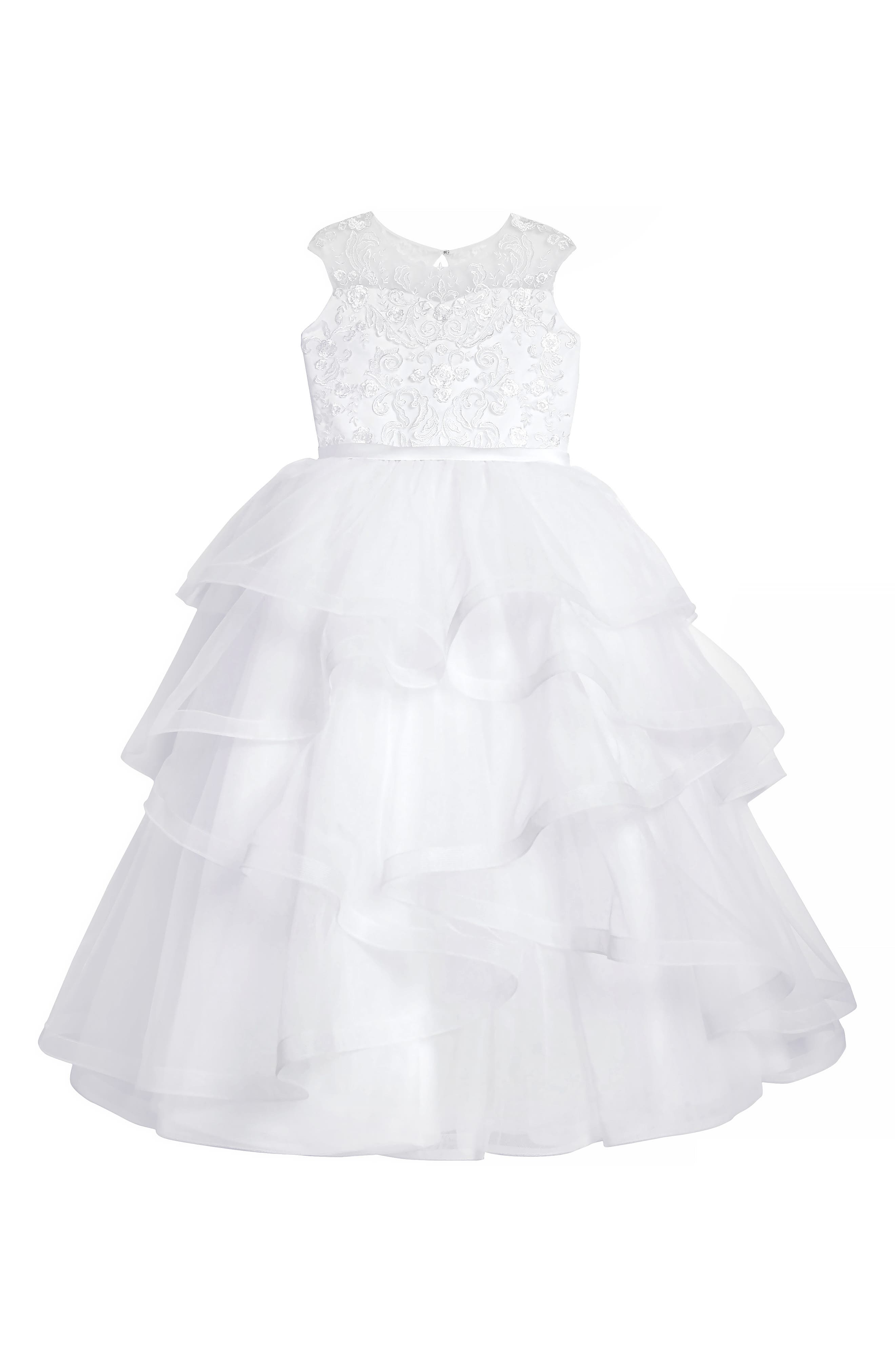 Tiered First Communion Dress,                             Main thumbnail 1, color,                             100