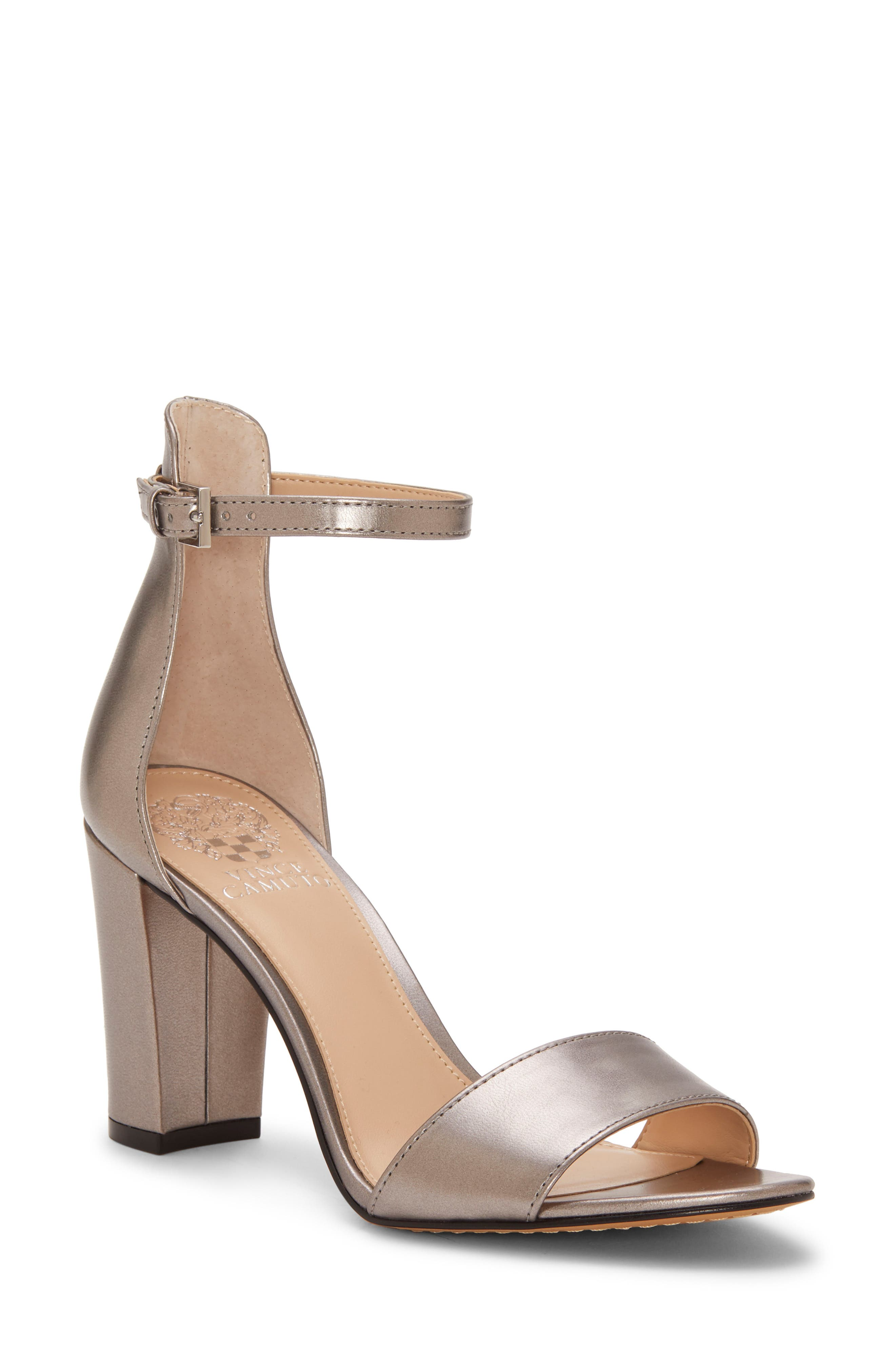 VINCE CAMUTO,                             Corlina Ankle Strap Sandal,                             Main thumbnail 1, color,                             METAL GREY