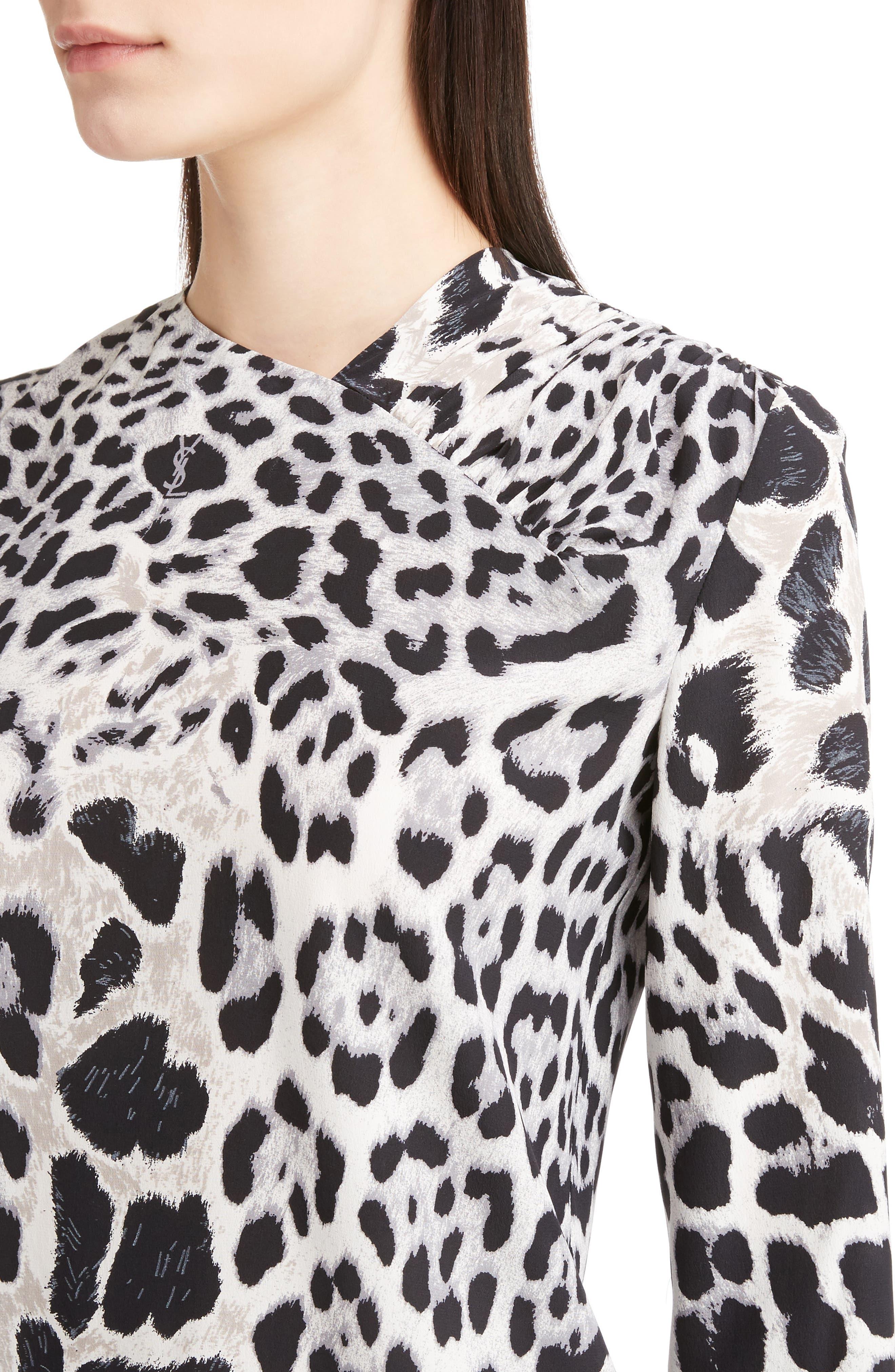Logo & Leopard Print Silk Crêpe de Chine Blouse,                             Alternate thumbnail 4, color,                             011