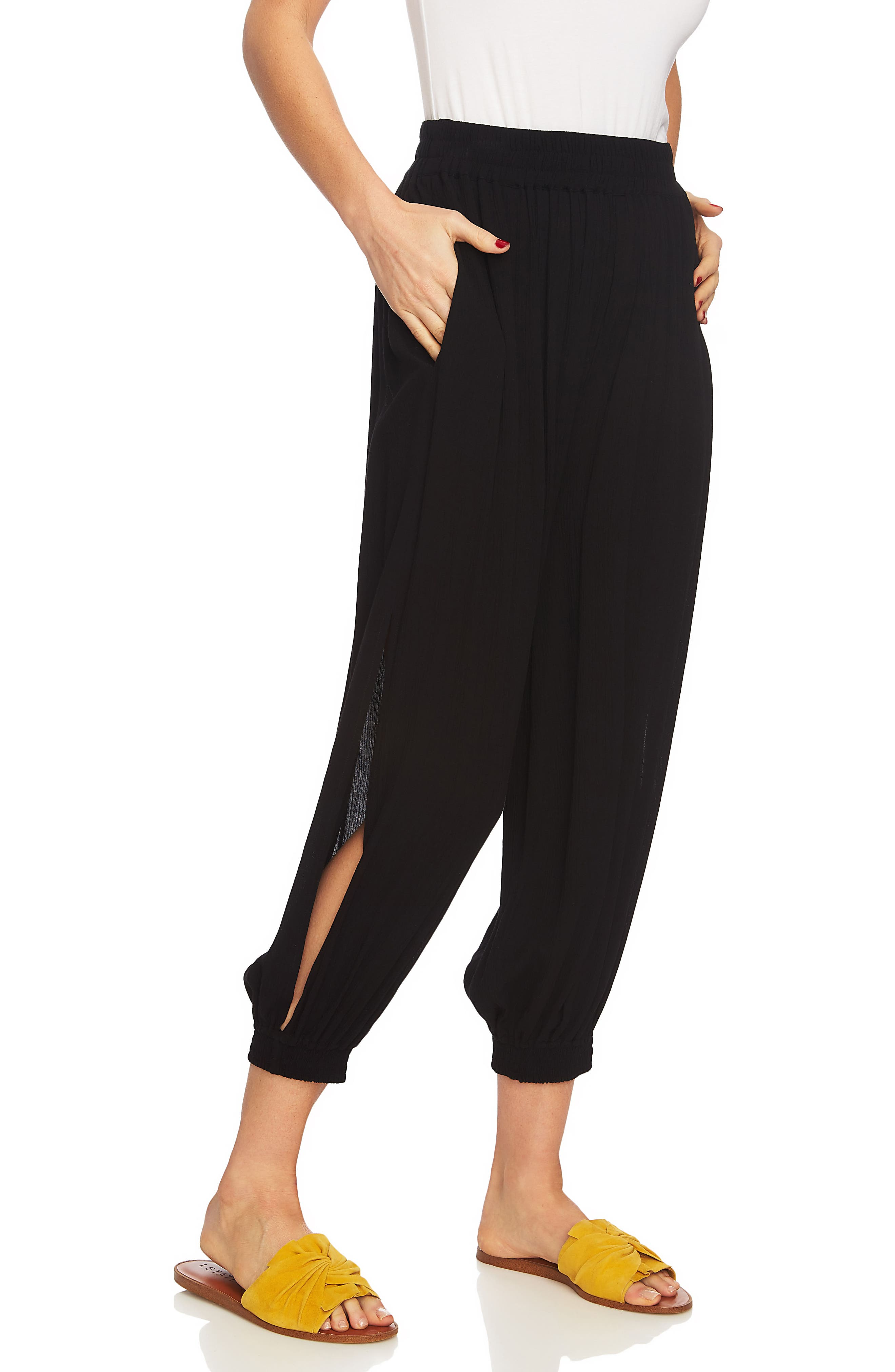 Smocked Cuff Harem Pants,                             Alternate thumbnail 3, color,                             RICH BLACK