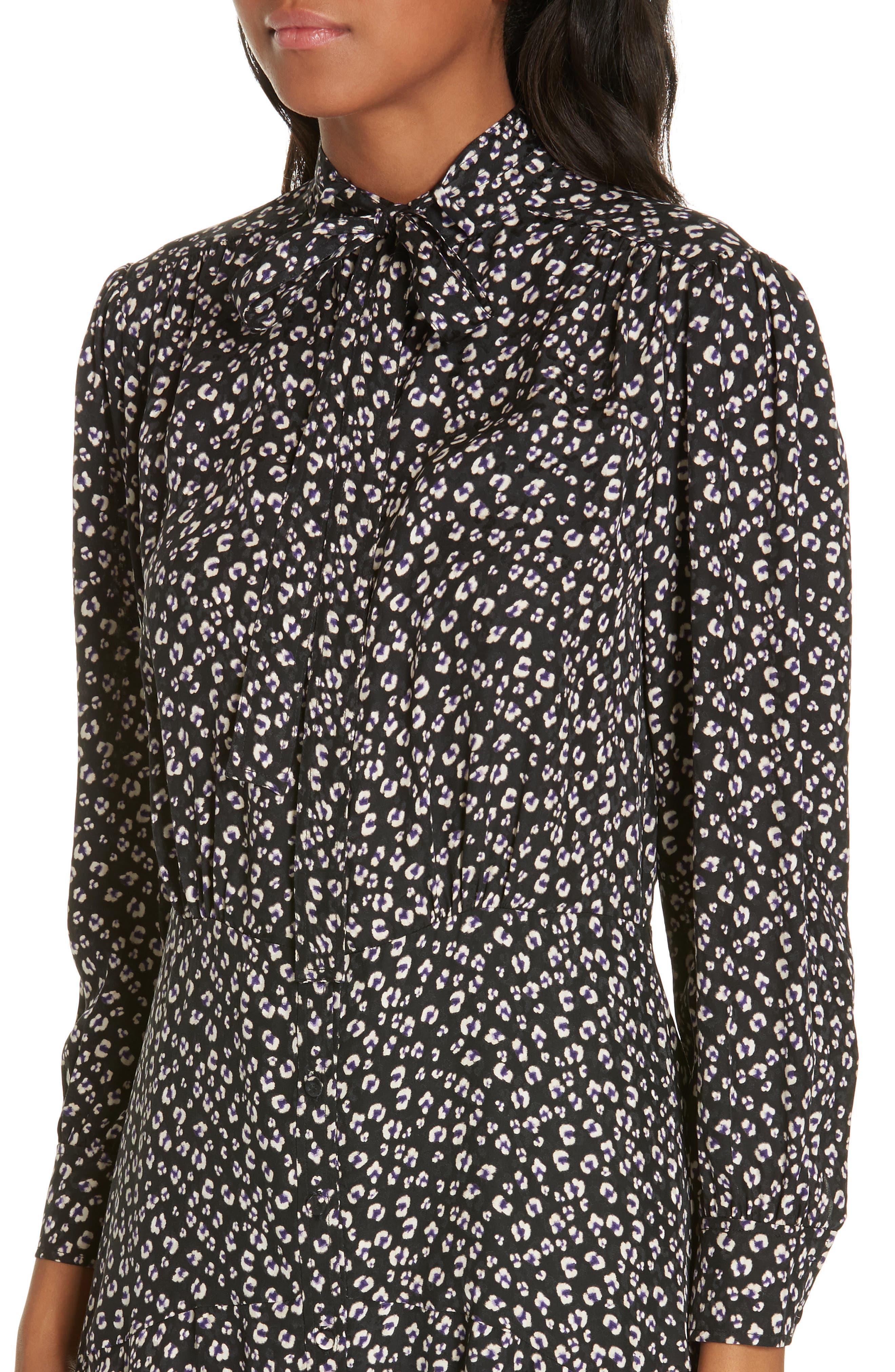 Cheetah Print Silk Dress,                             Alternate thumbnail 4, color,                             BLACK COMBO
