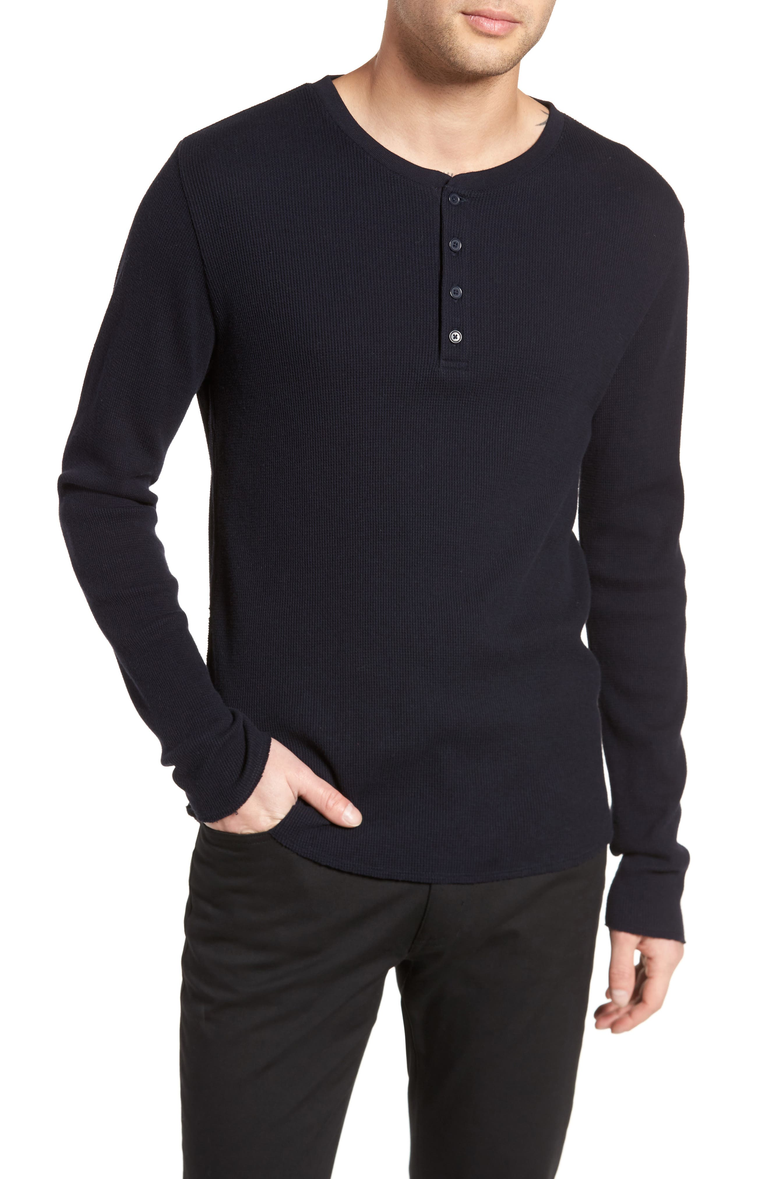 Thermal Knit Long Sleeve Henley T-Shirt,                             Main thumbnail 2, color,