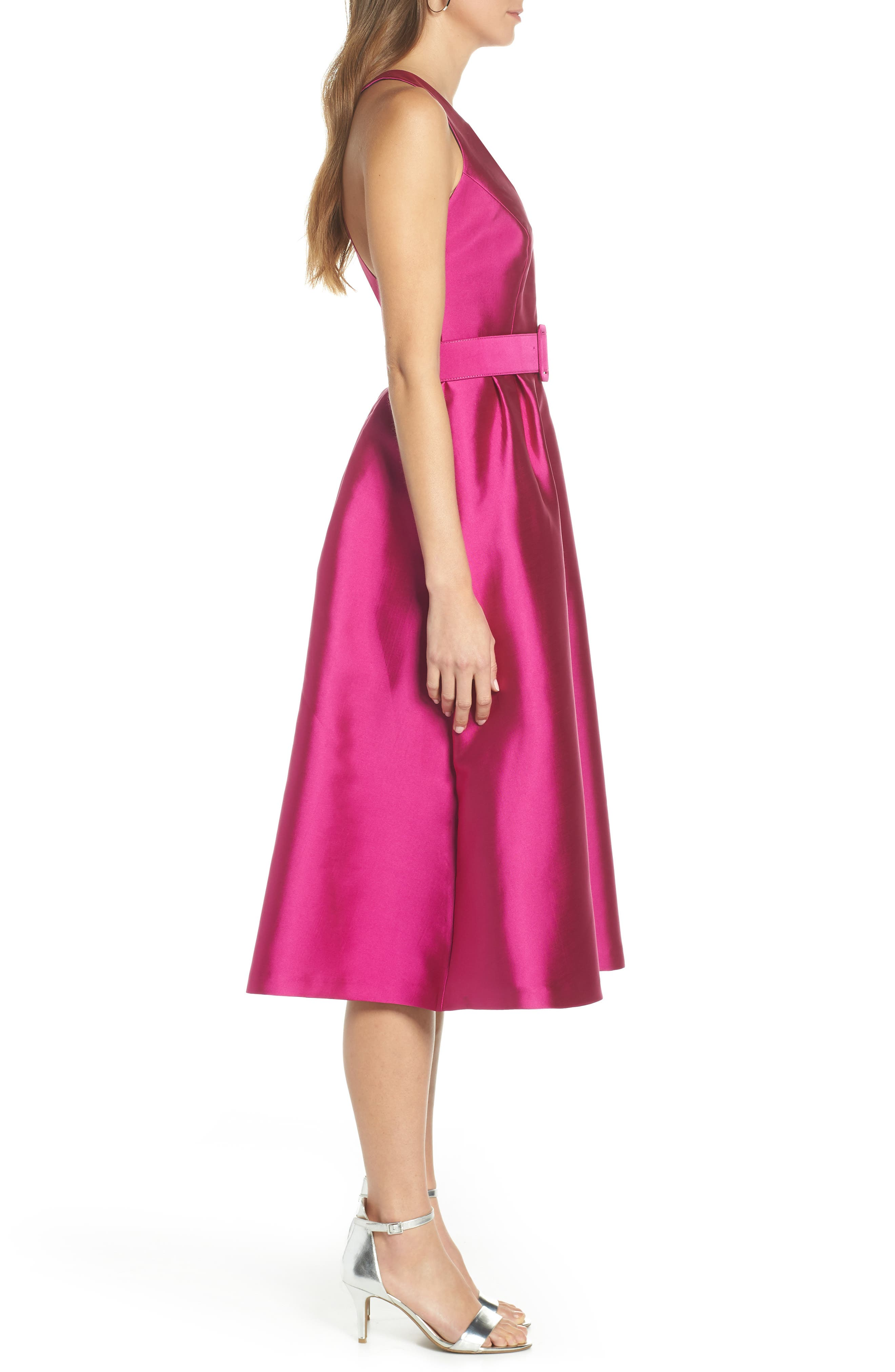 1901,                             Belted Fit & Flare Dress,                             Alternate thumbnail 3, color,                             PINK