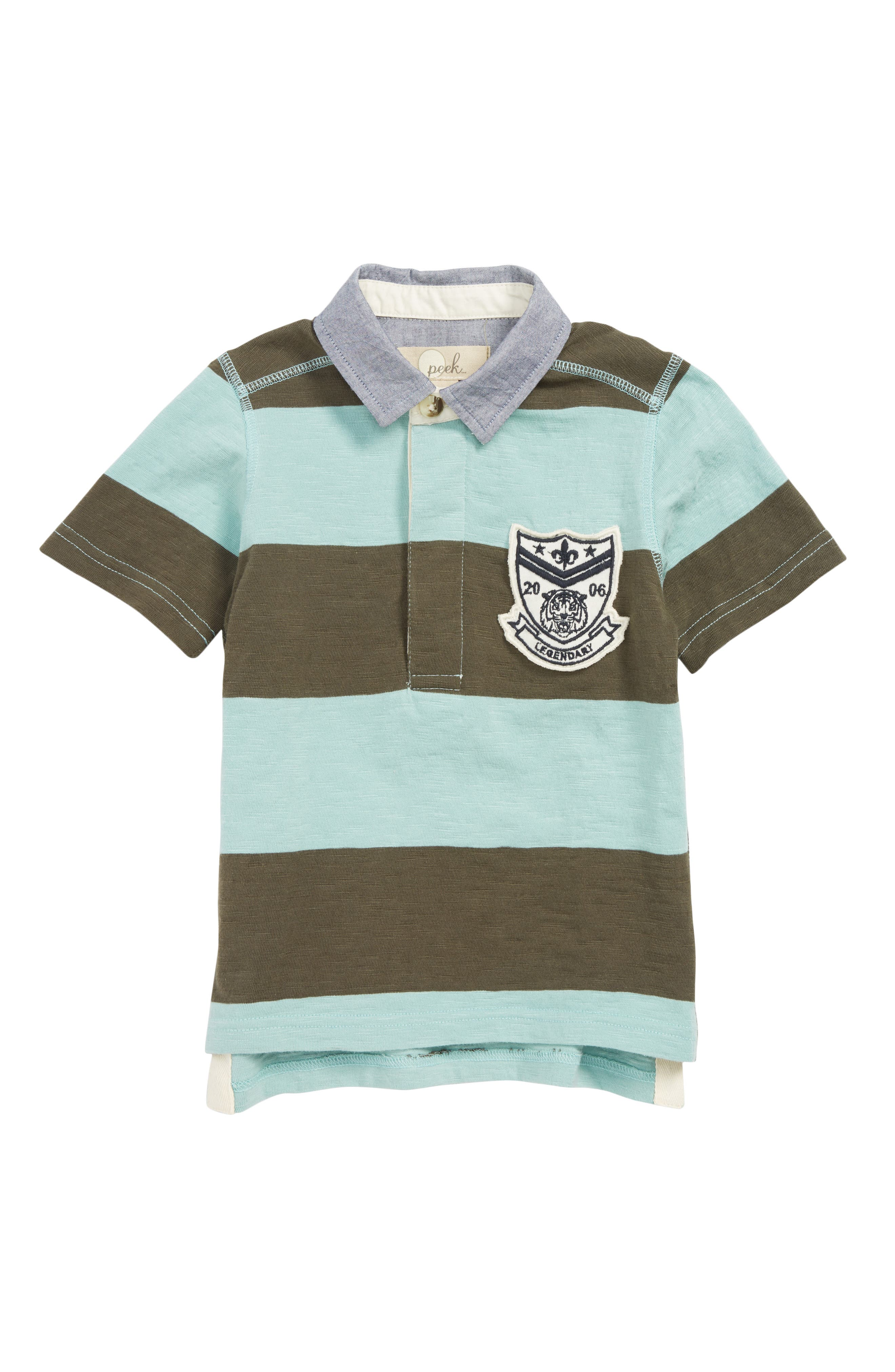 PEEK AREN'T YOU CURIOUS,                             Colton Stripe Polo Shirt,                             Main thumbnail 1, color,                             OLIVE