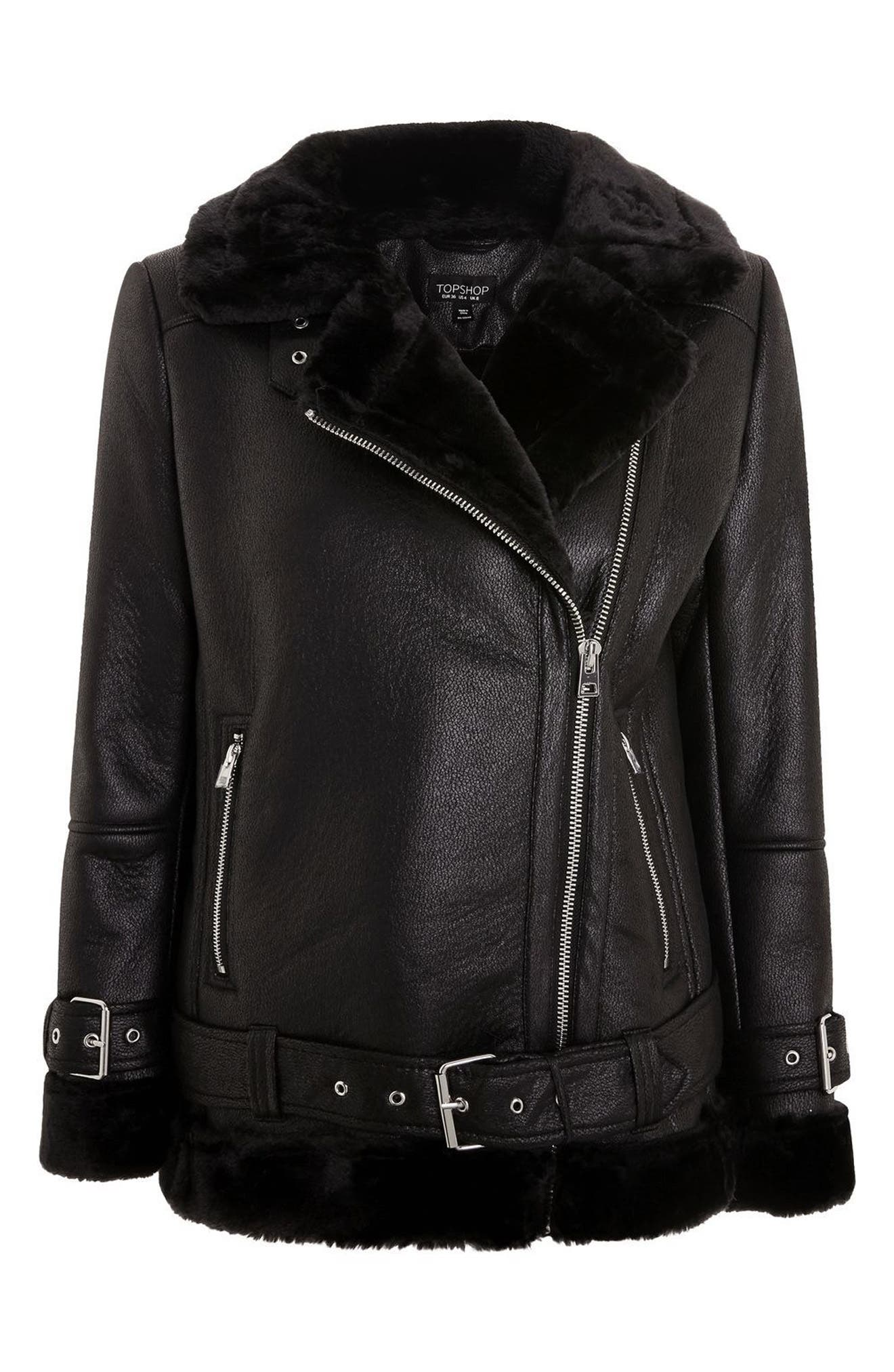 TOPSHOP,                             Faux Shearling Biker Jacket,                             Alternate thumbnail 4, color,                             001