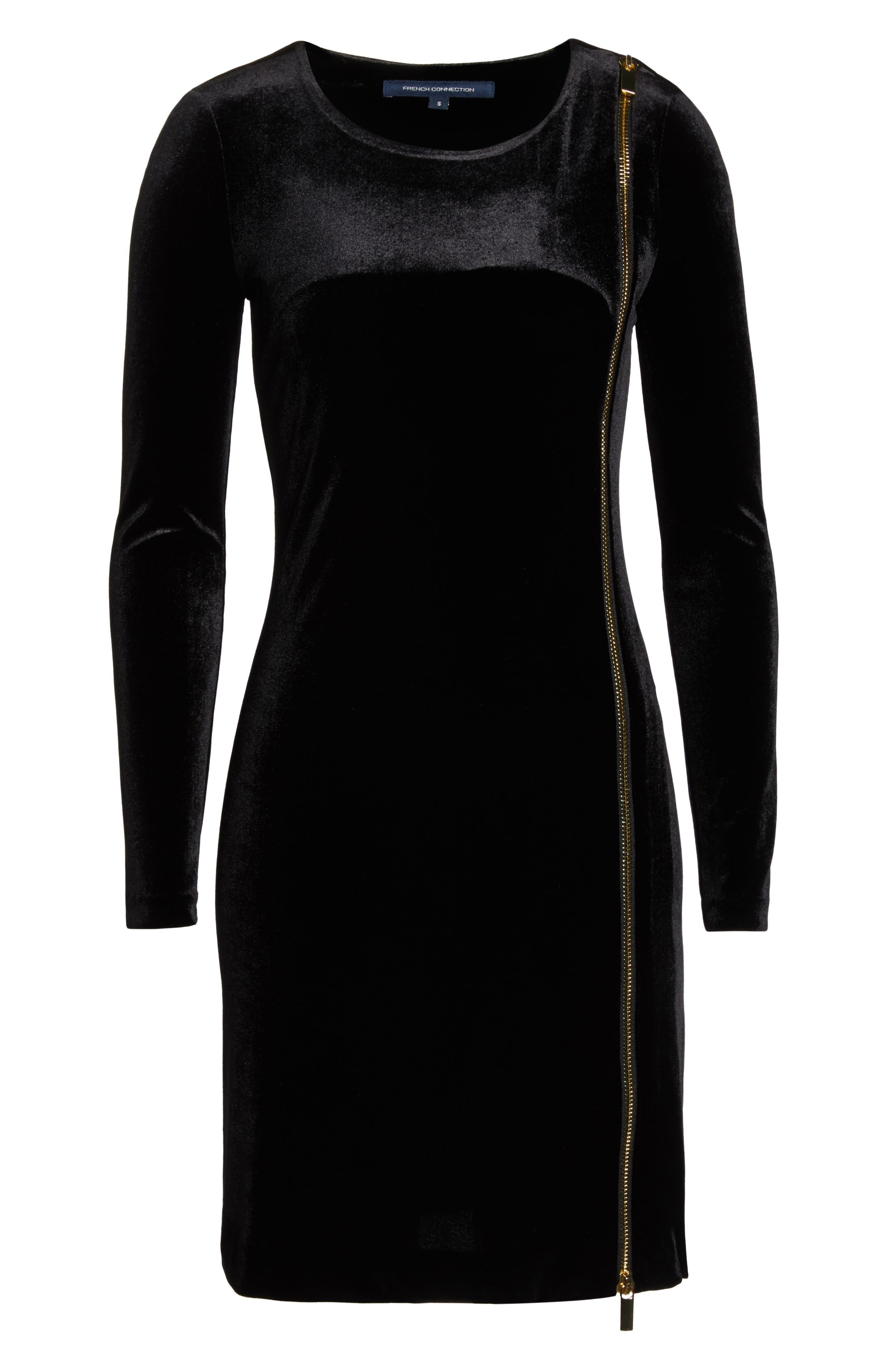 Zella Aurore Velvet Jersey Sheath Dress,                             Alternate thumbnail 7, color,                             BLACK GOLD