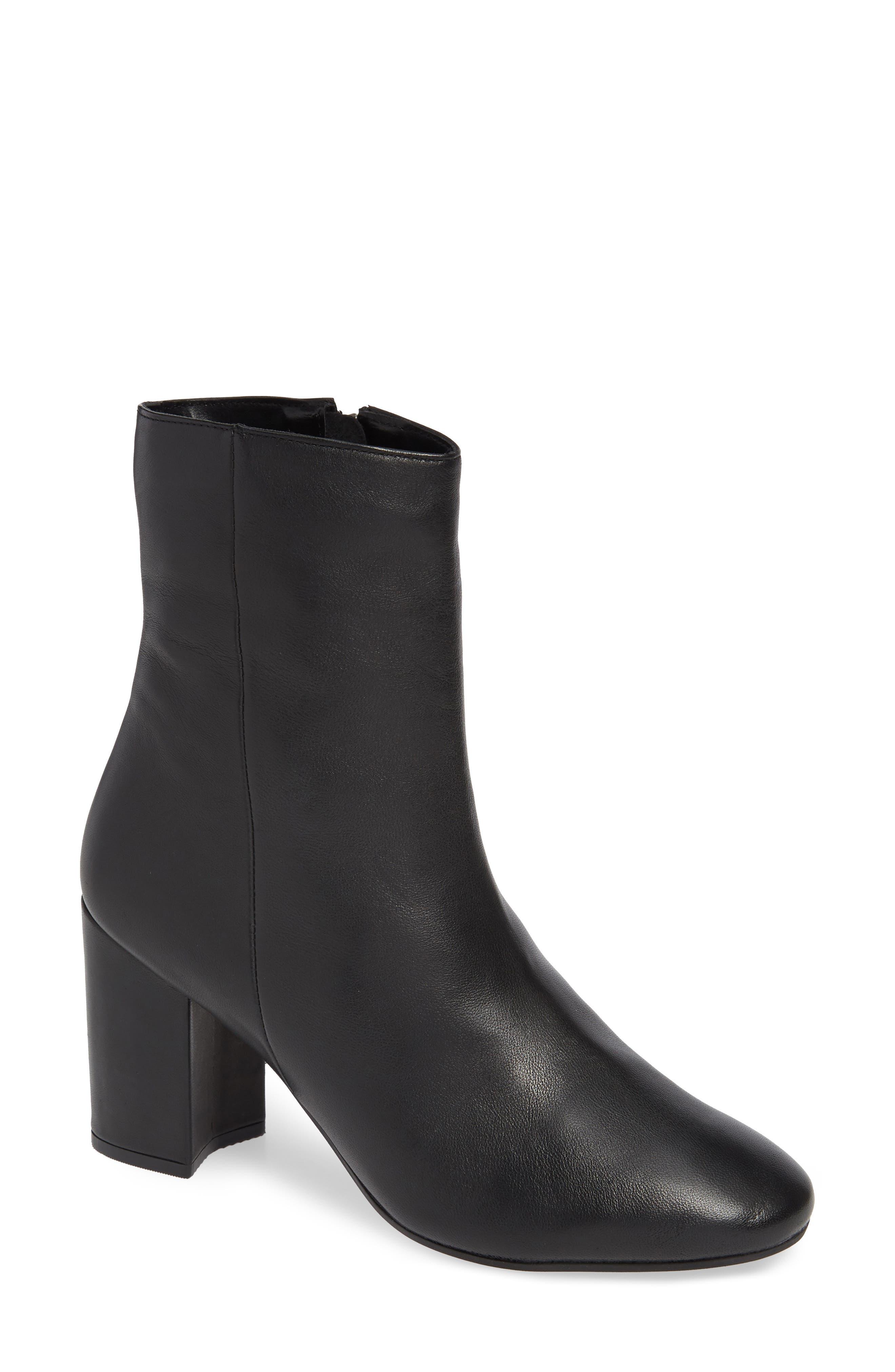 Elise Leather Bootie,                             Main thumbnail 1, color,                             BLACK