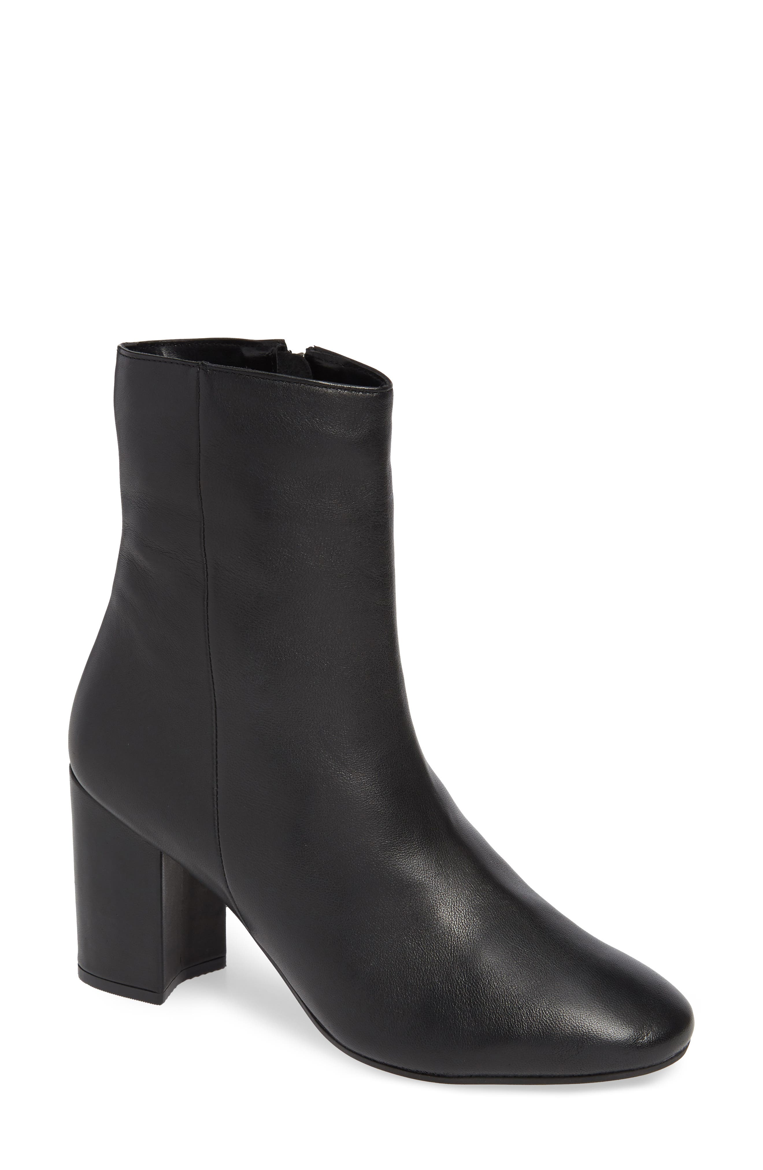 Elise Leather Bootie,                         Main,                         color, BLACK