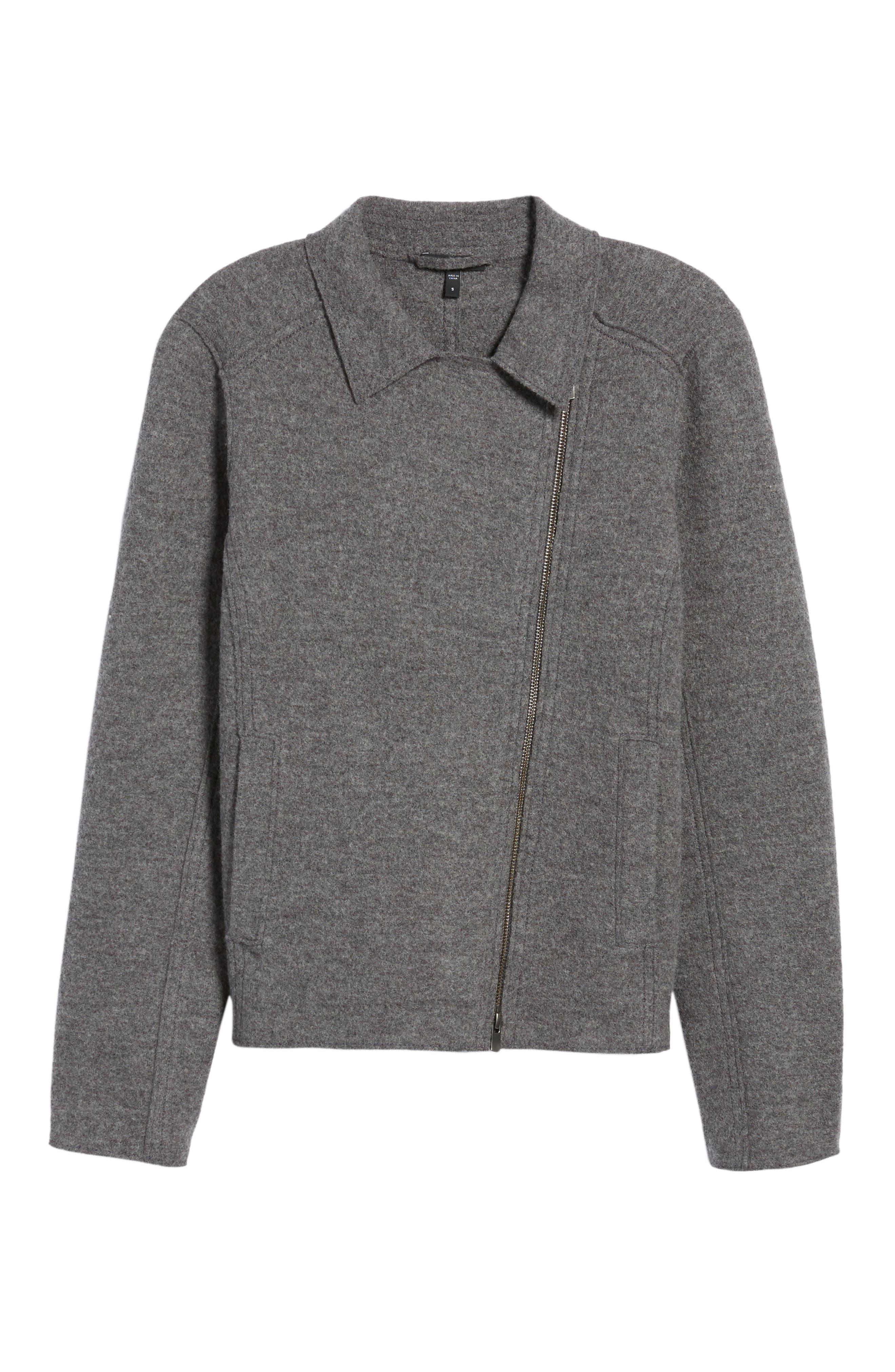 Boiled Wool Moto Jacket,                             Alternate thumbnail 18, color,