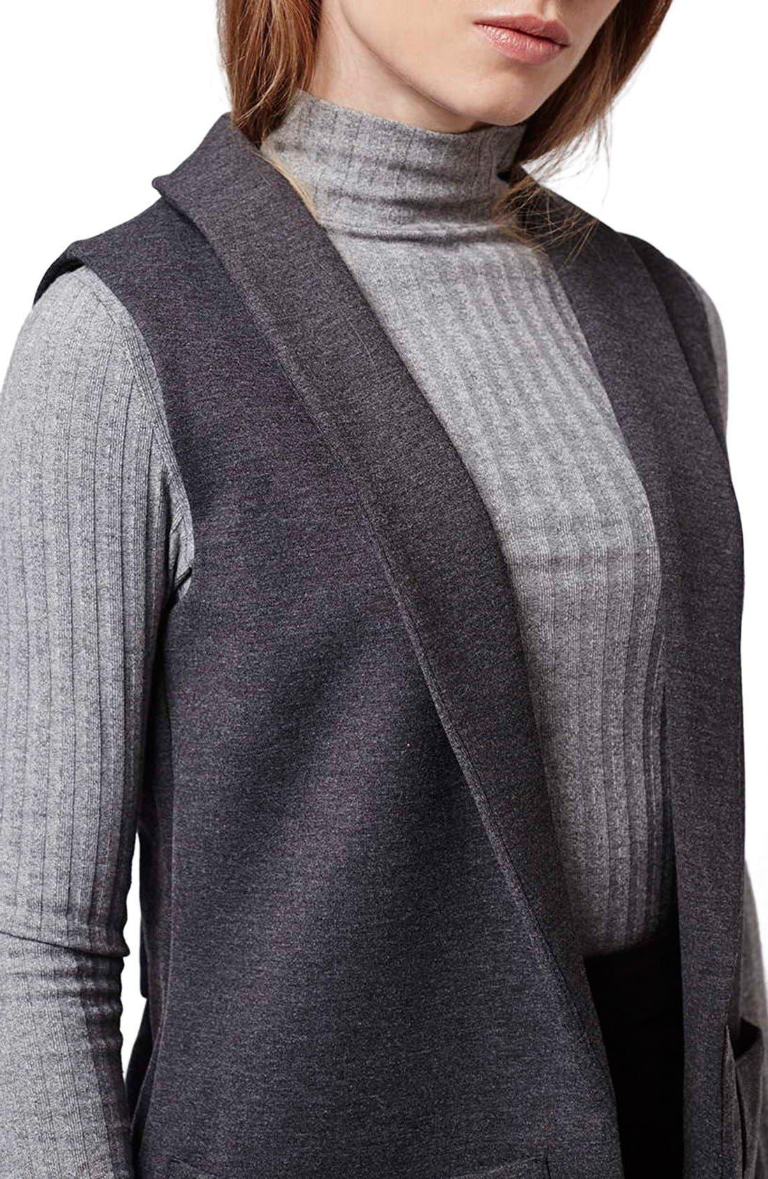 Shawl Collar Longline Vest,                             Alternate thumbnail 3, color,                             021
