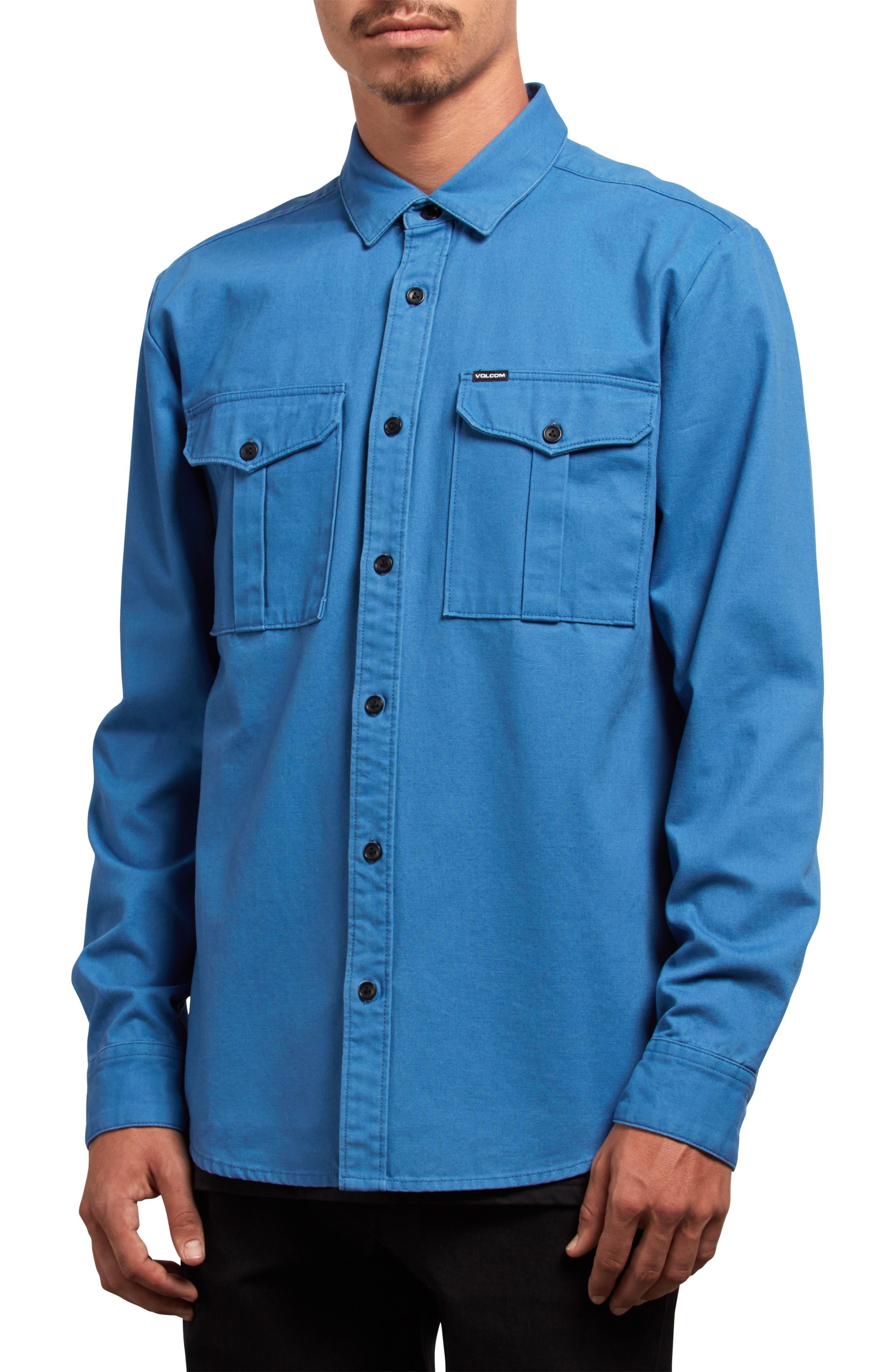 Volcom Huckster Heavyweight Sport Shirt, Blue