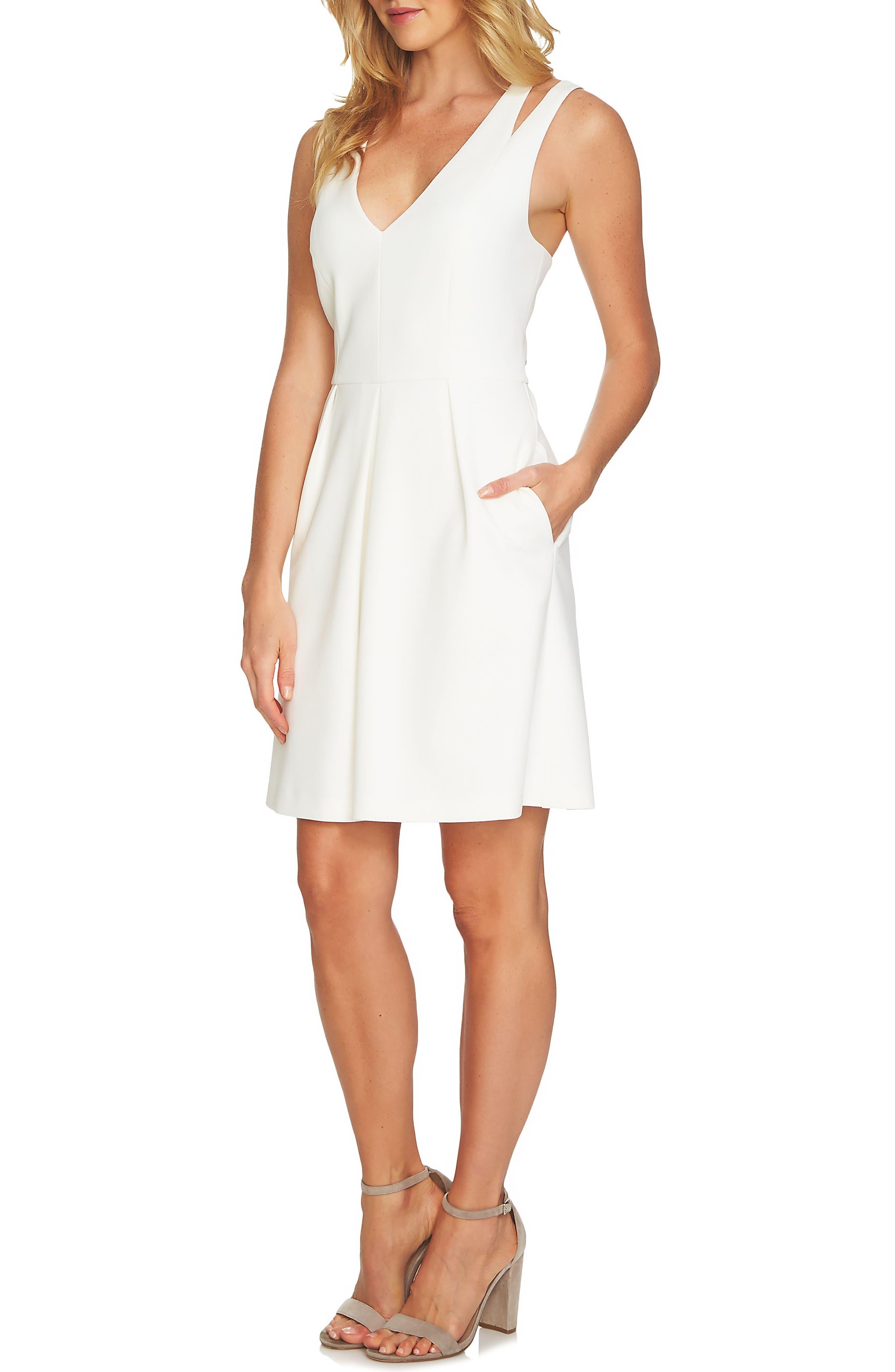 Split Sleeveless A-Line Dress,                             Alternate thumbnail 4, color,