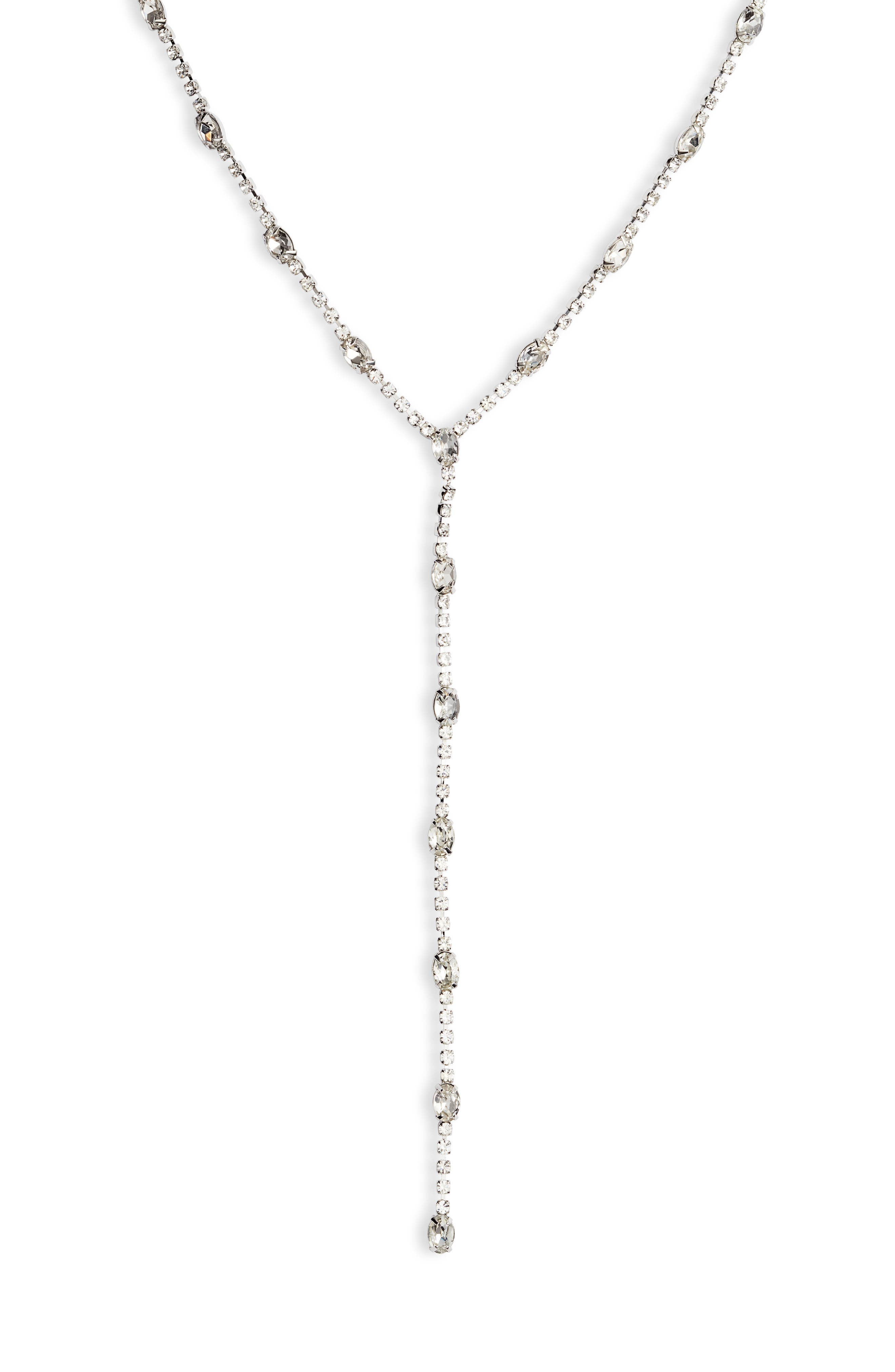 Crystal Y-Necklace,                             Alternate thumbnail 2, color,                             CRYSTAL/ SILVER