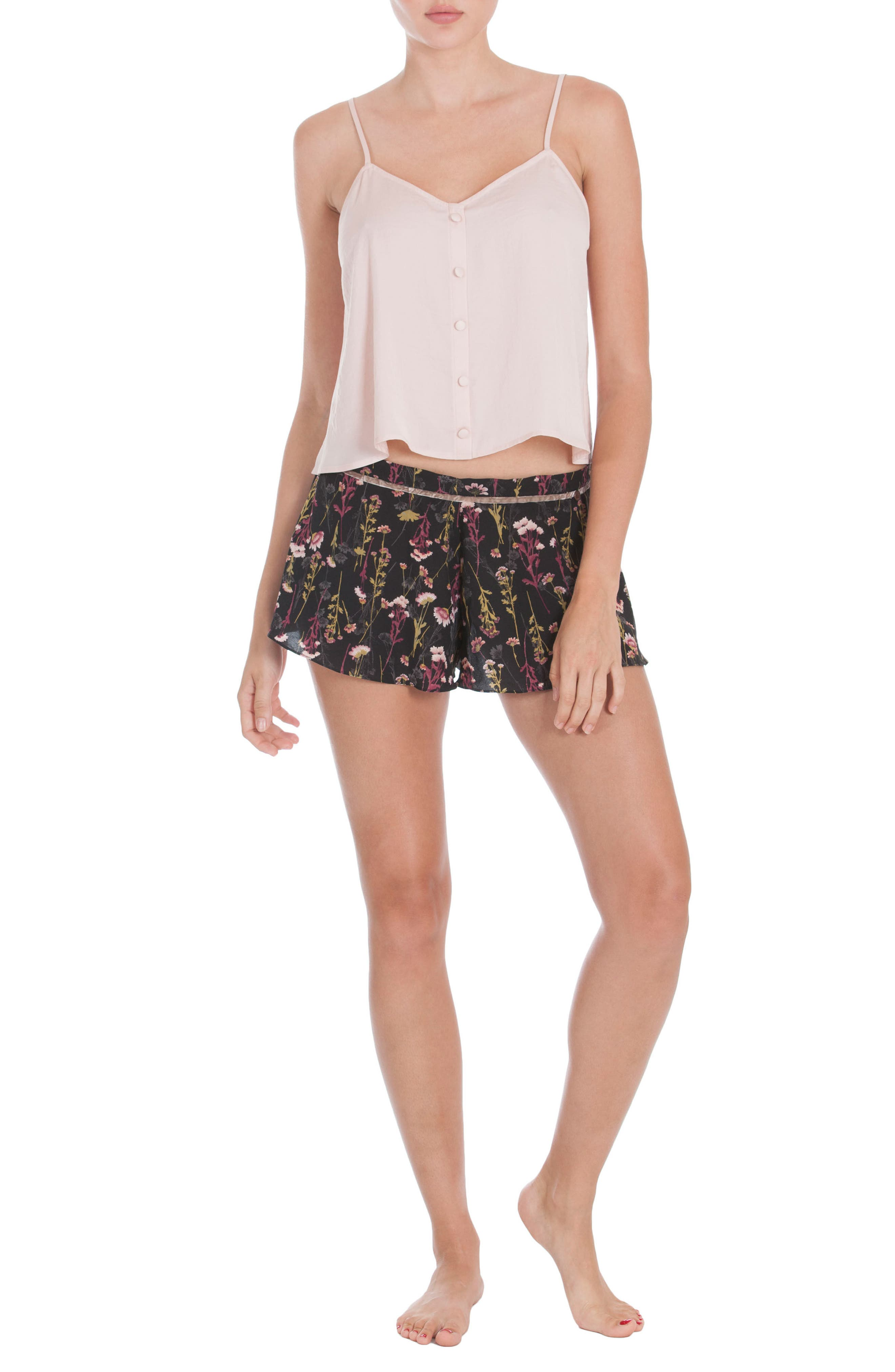 Floral Print Lounge Shorts,                             Alternate thumbnail 5, color,                             001