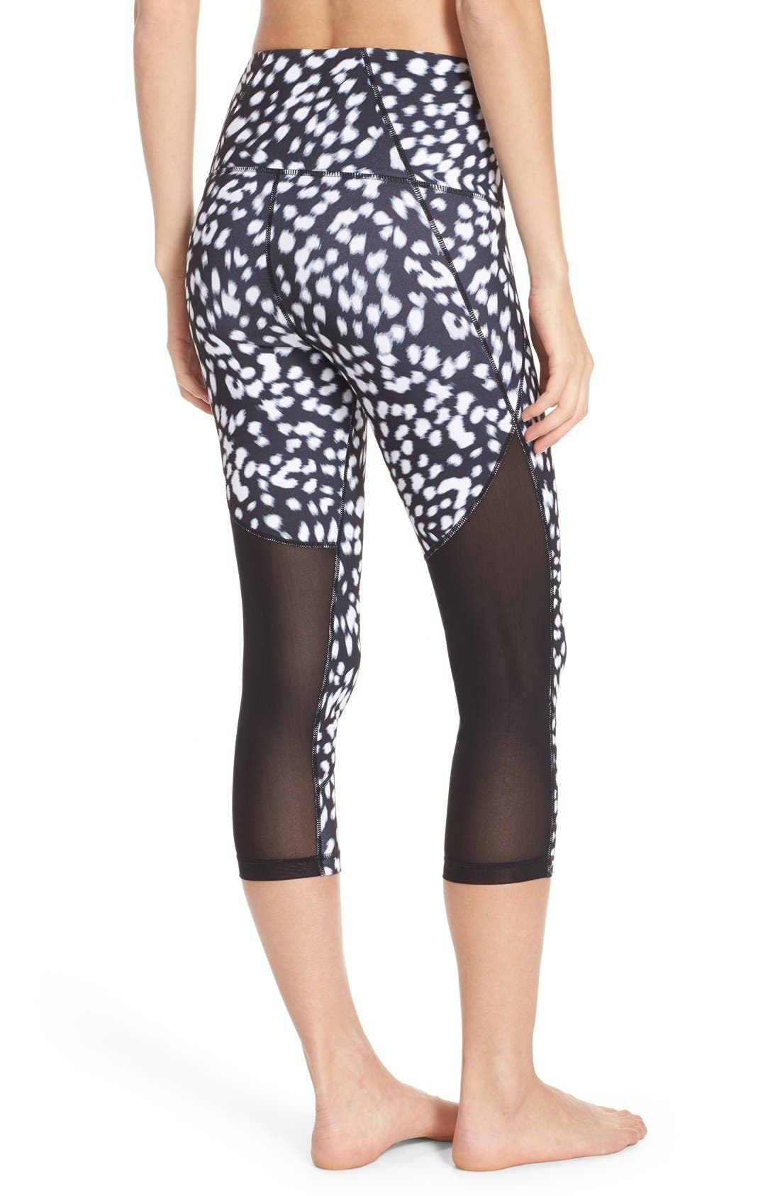 'Live In - Sultry' High Waist Mesh Crop Leggings,                             Main thumbnail 6, color,