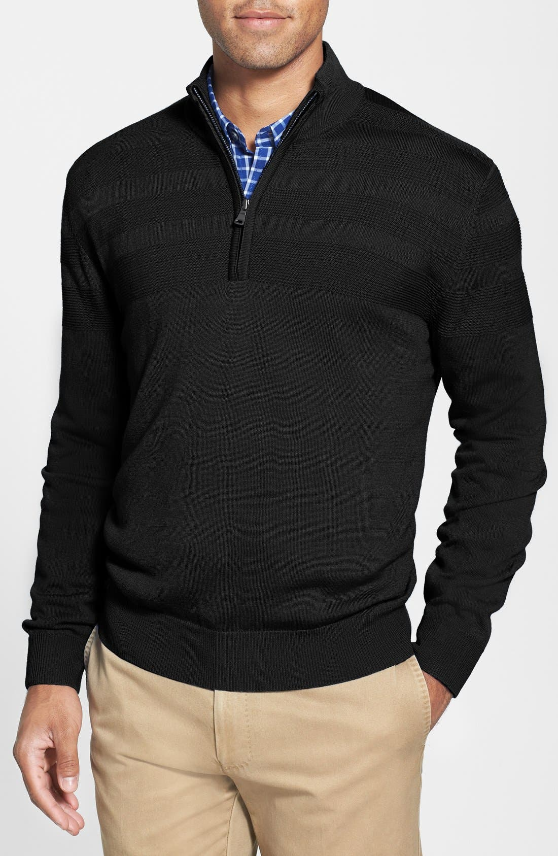 'Douglas' Merino Wool Blend Half Zip Sweater,                             Main thumbnail 1, color,                             001