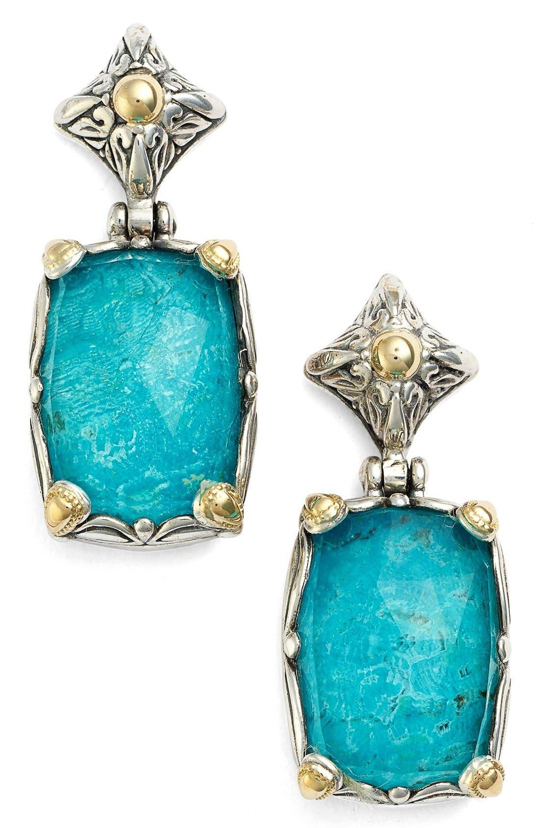 'Iliada' Rectangle Double Drop Earrings,                             Main thumbnail 1, color,                             BLUE/ GREEN