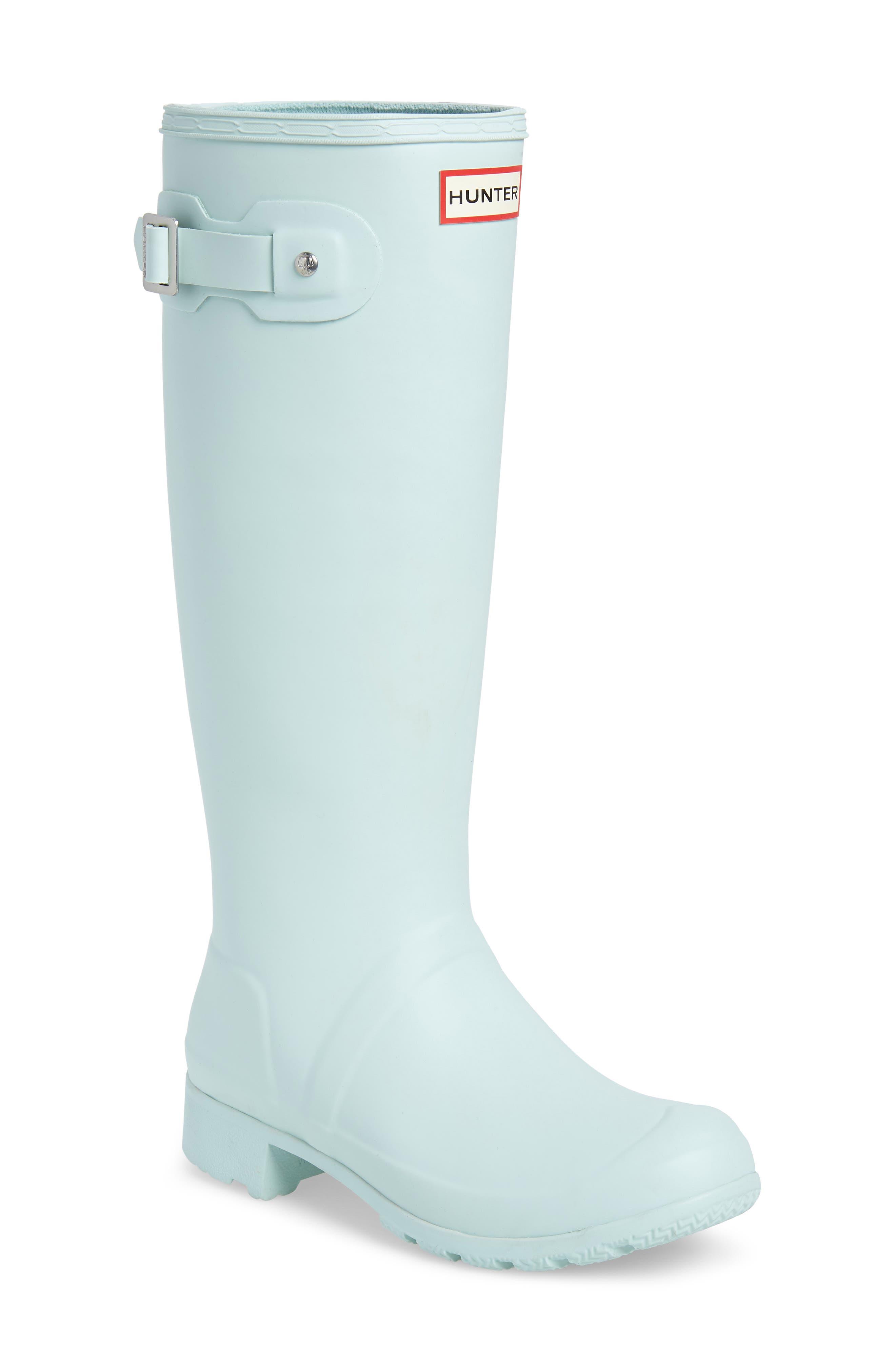 HUNTER Tour Packable Waterproof Rain Boot, Main, color, AQUA FOAM RUBBER