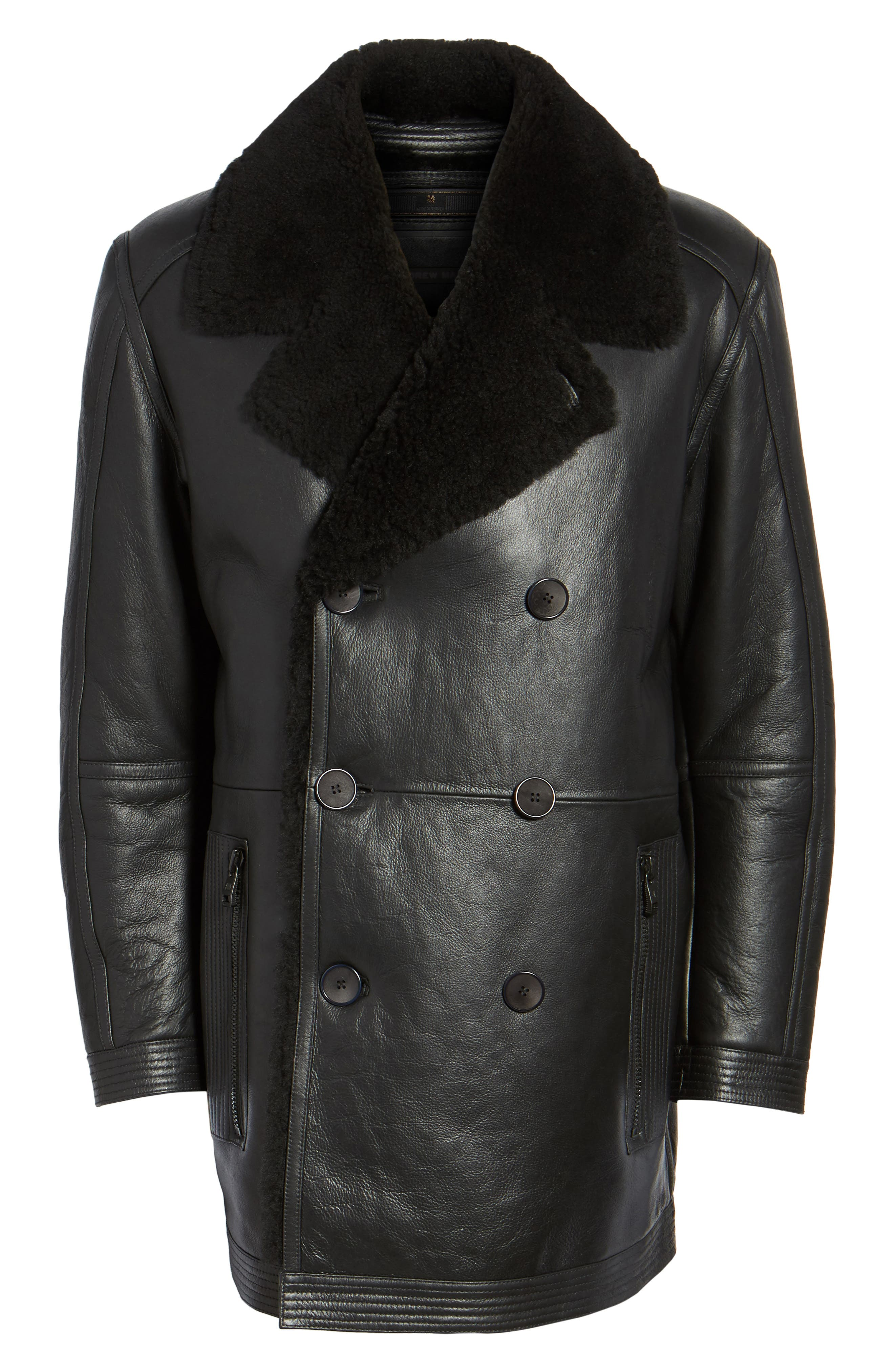 Marc New York Frontier Double Breasted Genuine Shearling Jacket,                             Alternate thumbnail 5, color,                             001