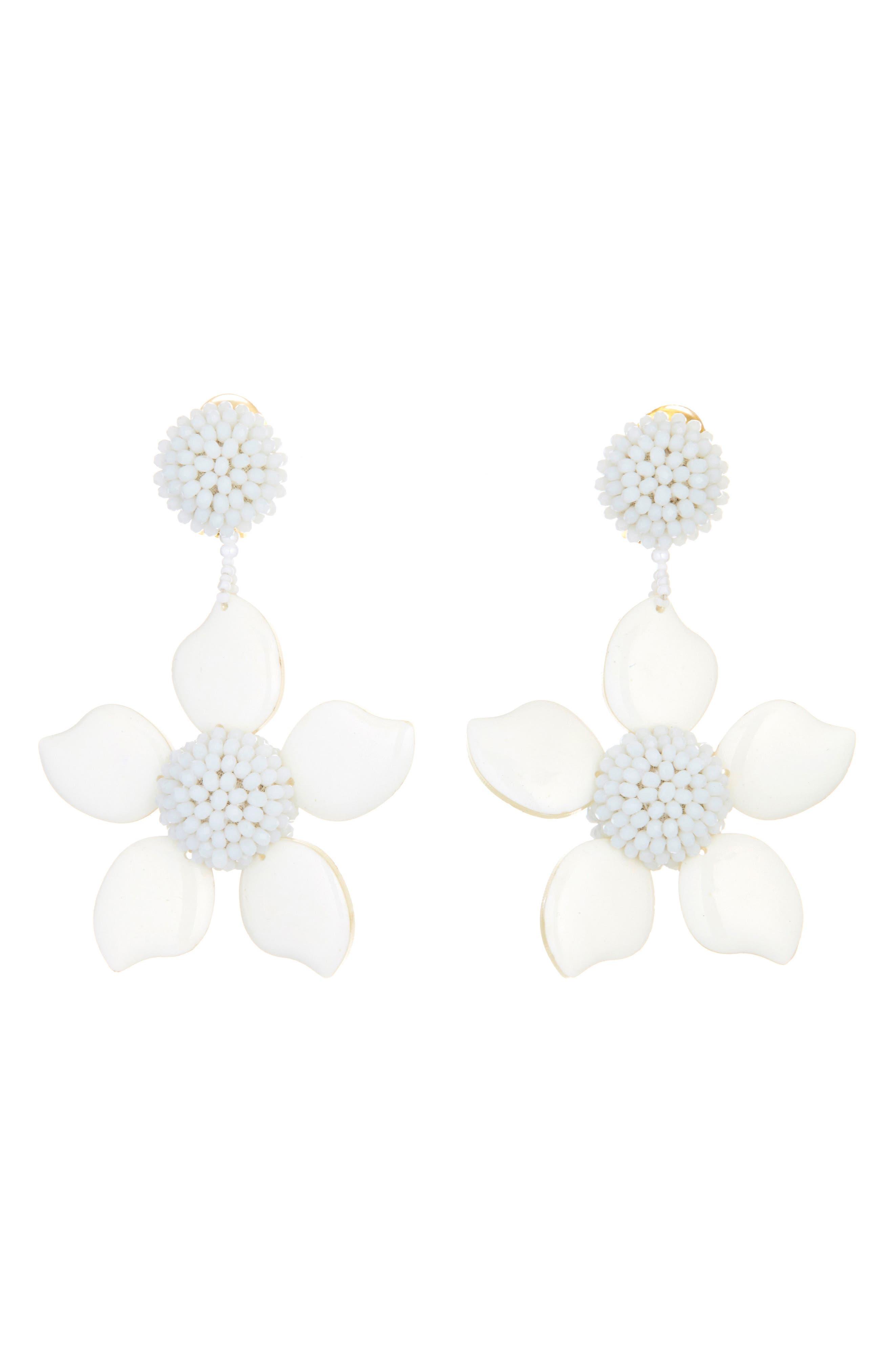 Bold Enamel Flower Drop Earrings,                             Main thumbnail 1, color,                             WHITE