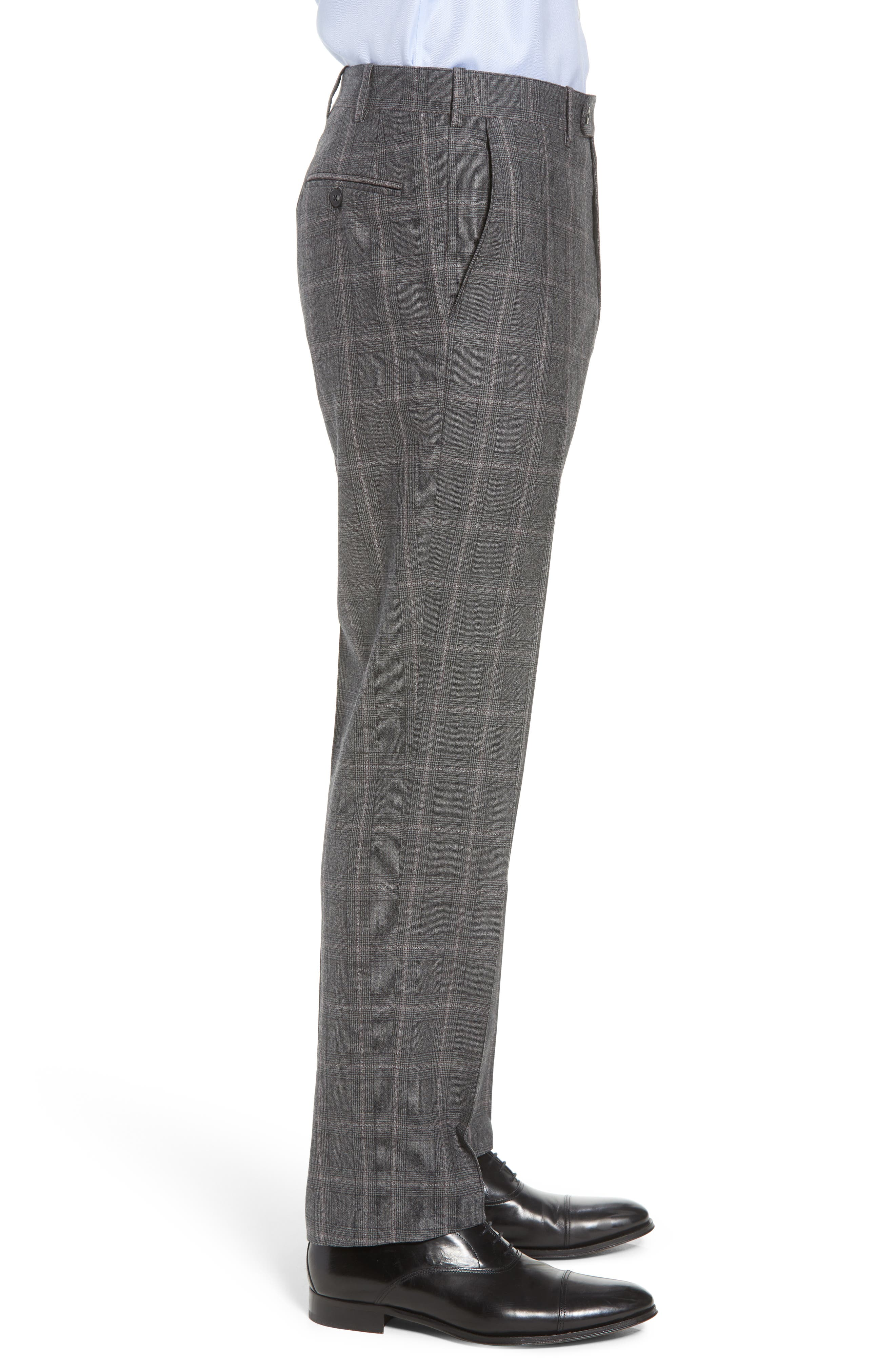 Torino Traditional Fit Flat Front Plaid Wool & Cashmere Trousers,                             Alternate thumbnail 3, color,                             GREY